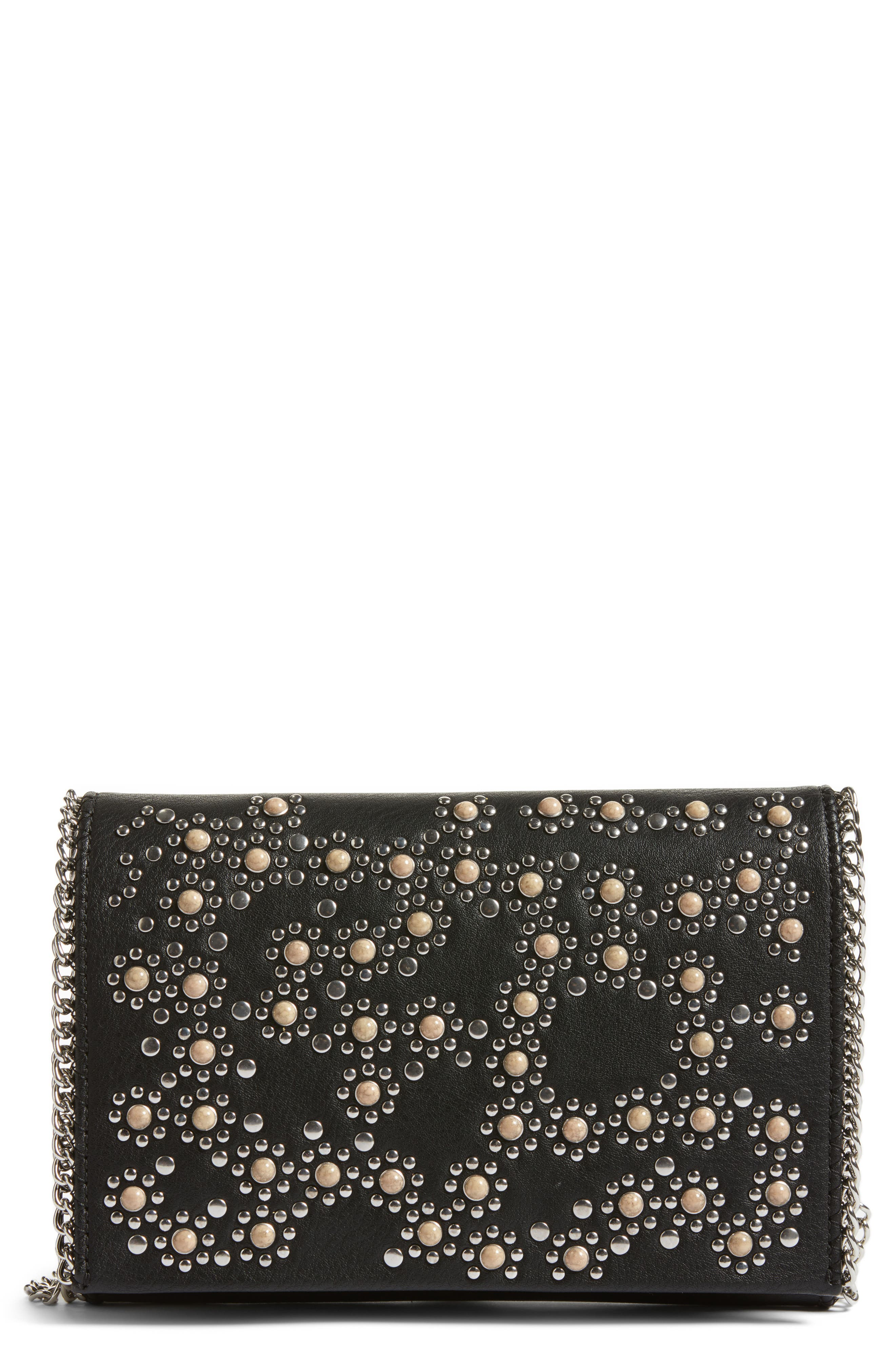 Embellished Faux Leather Convertible Clutch,                             Main thumbnail 1, color,                             001