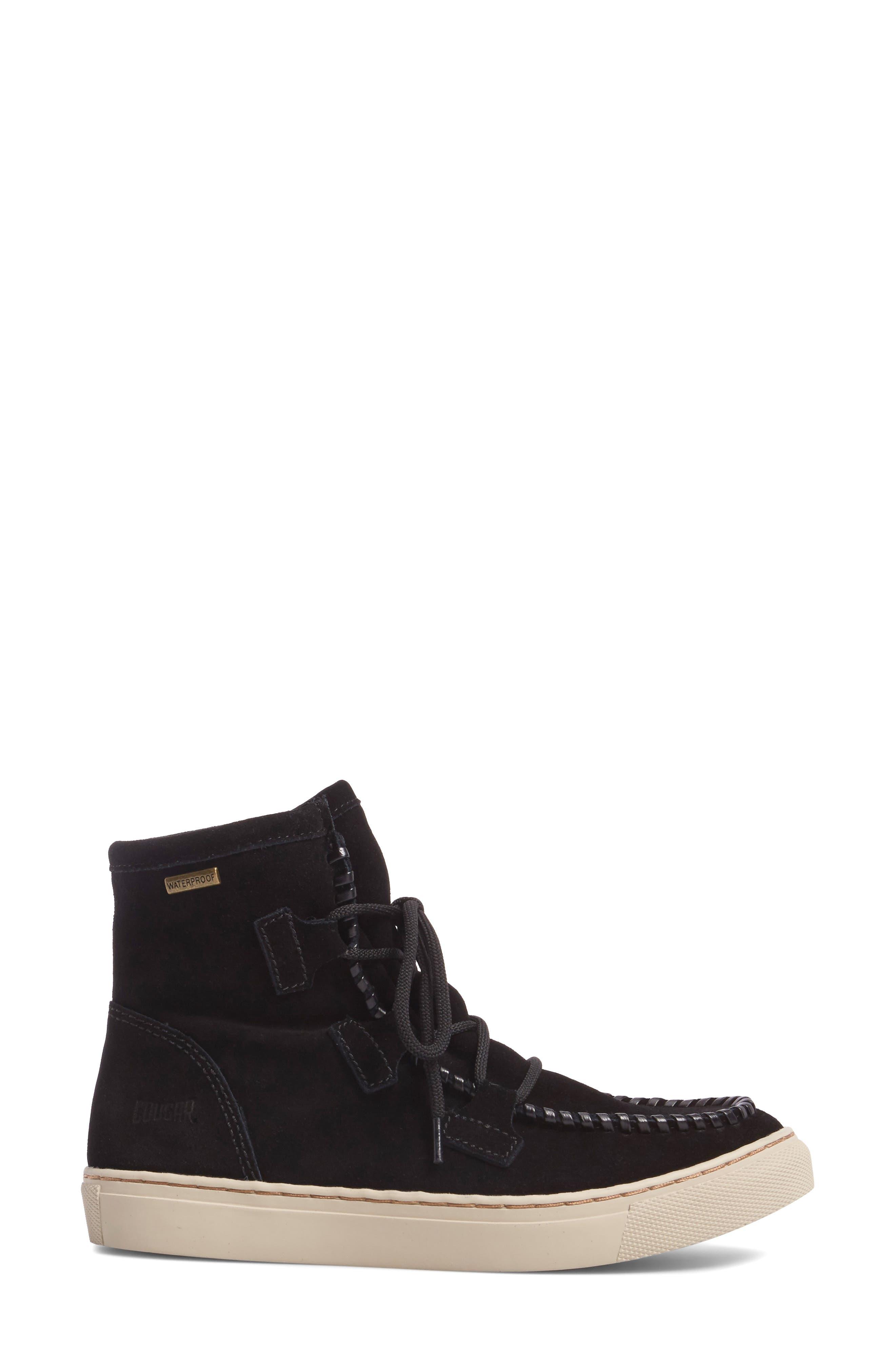 Fabiola Waterproof High Top Sneaker,                             Alternate thumbnail 3, color,                             BLACK SUEDE