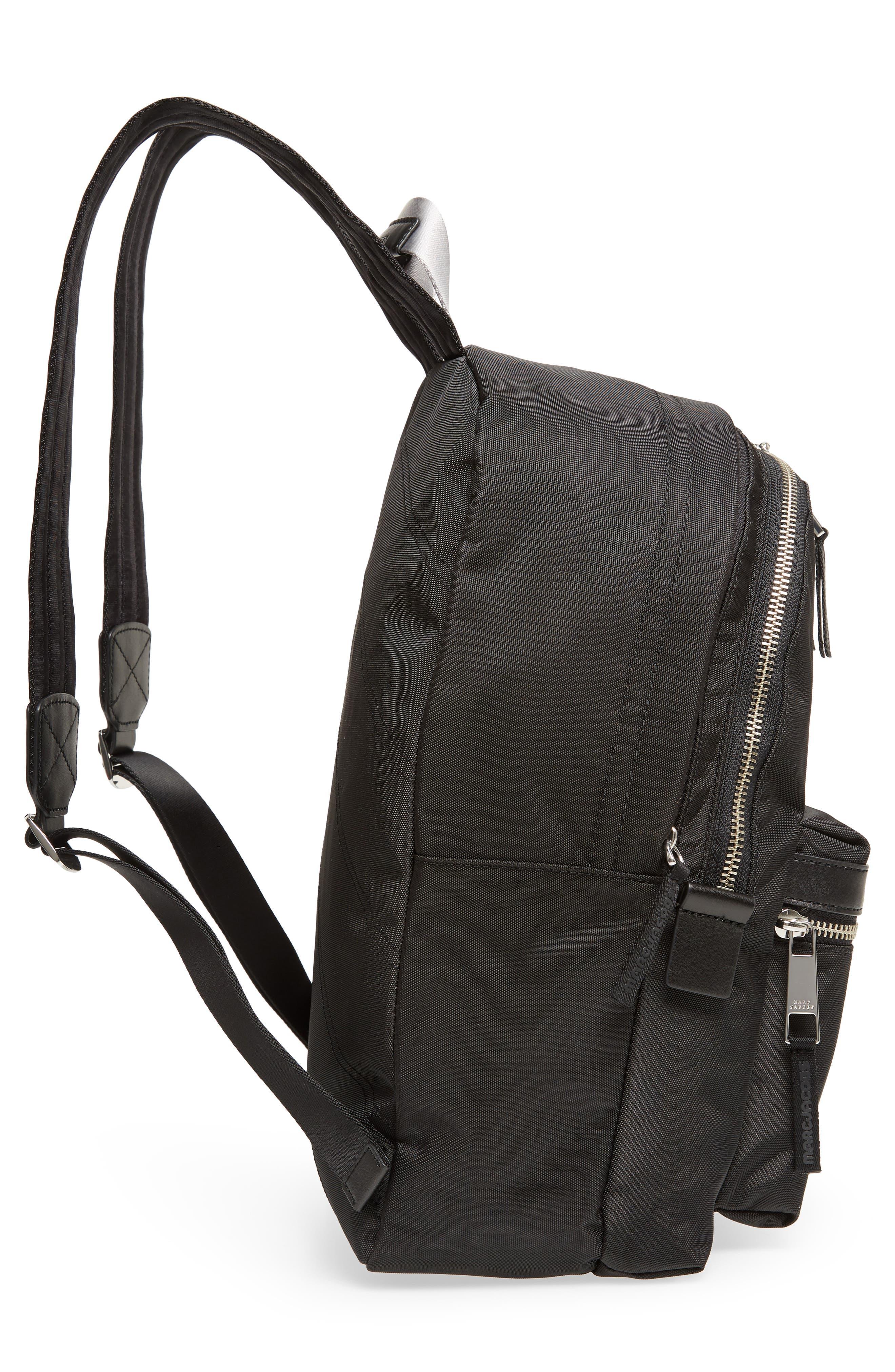 Large Sport Trek Nylon Backpack,                             Alternate thumbnail 5, color,                             BLACK