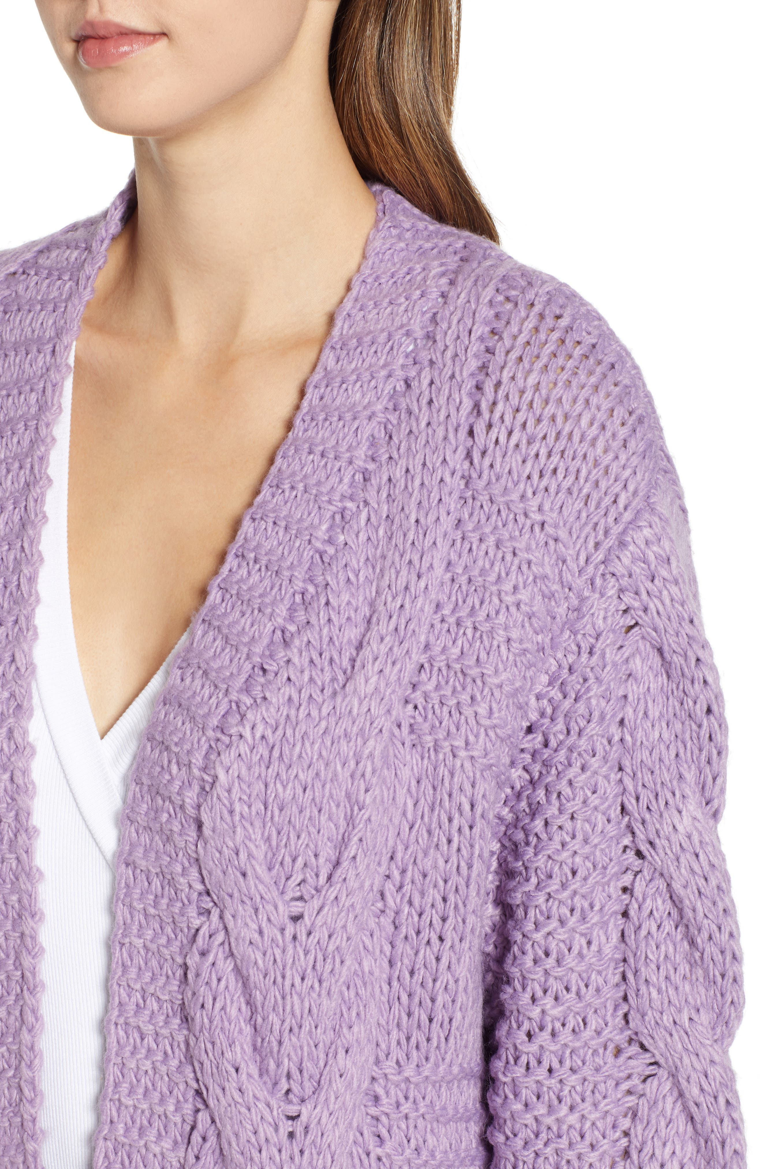 Cable Knit Oversized Cardigan,                             Alternate thumbnail 4, color,                             500
