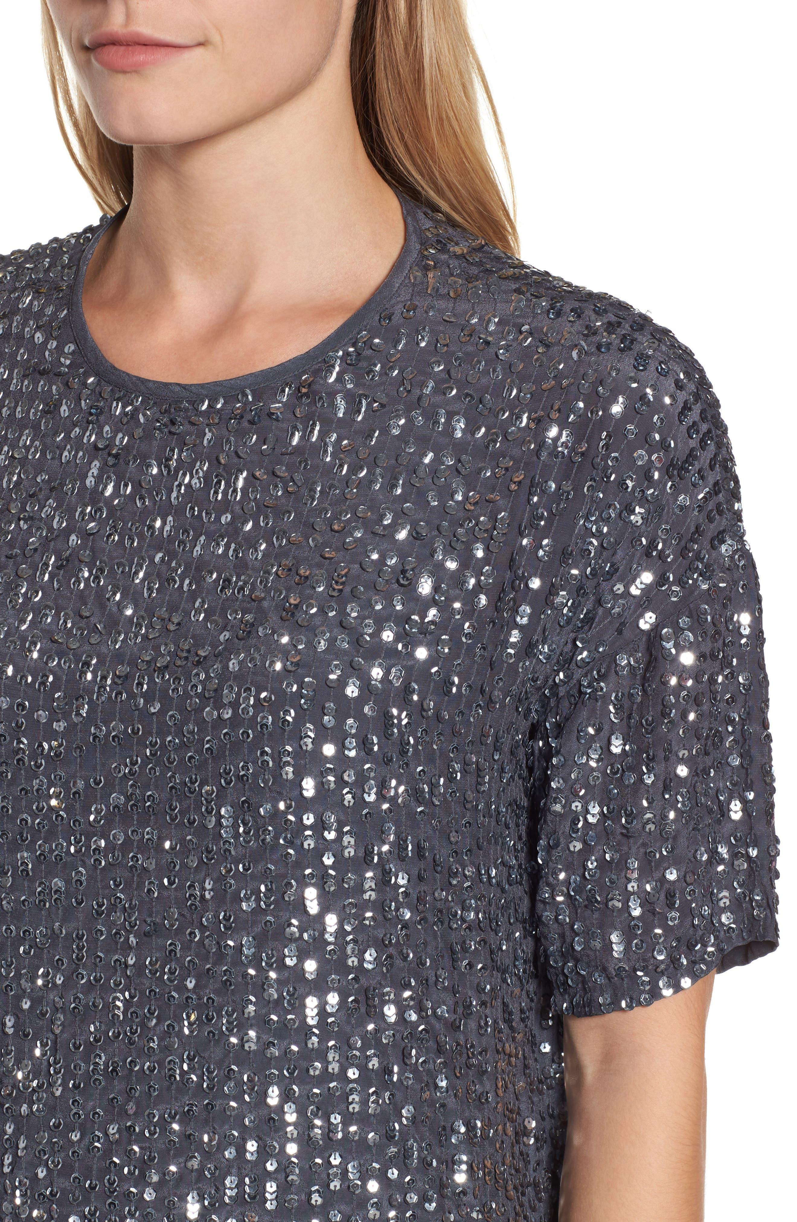 Short Sleeve Sequin Top,                             Alternate thumbnail 4, color,                             031