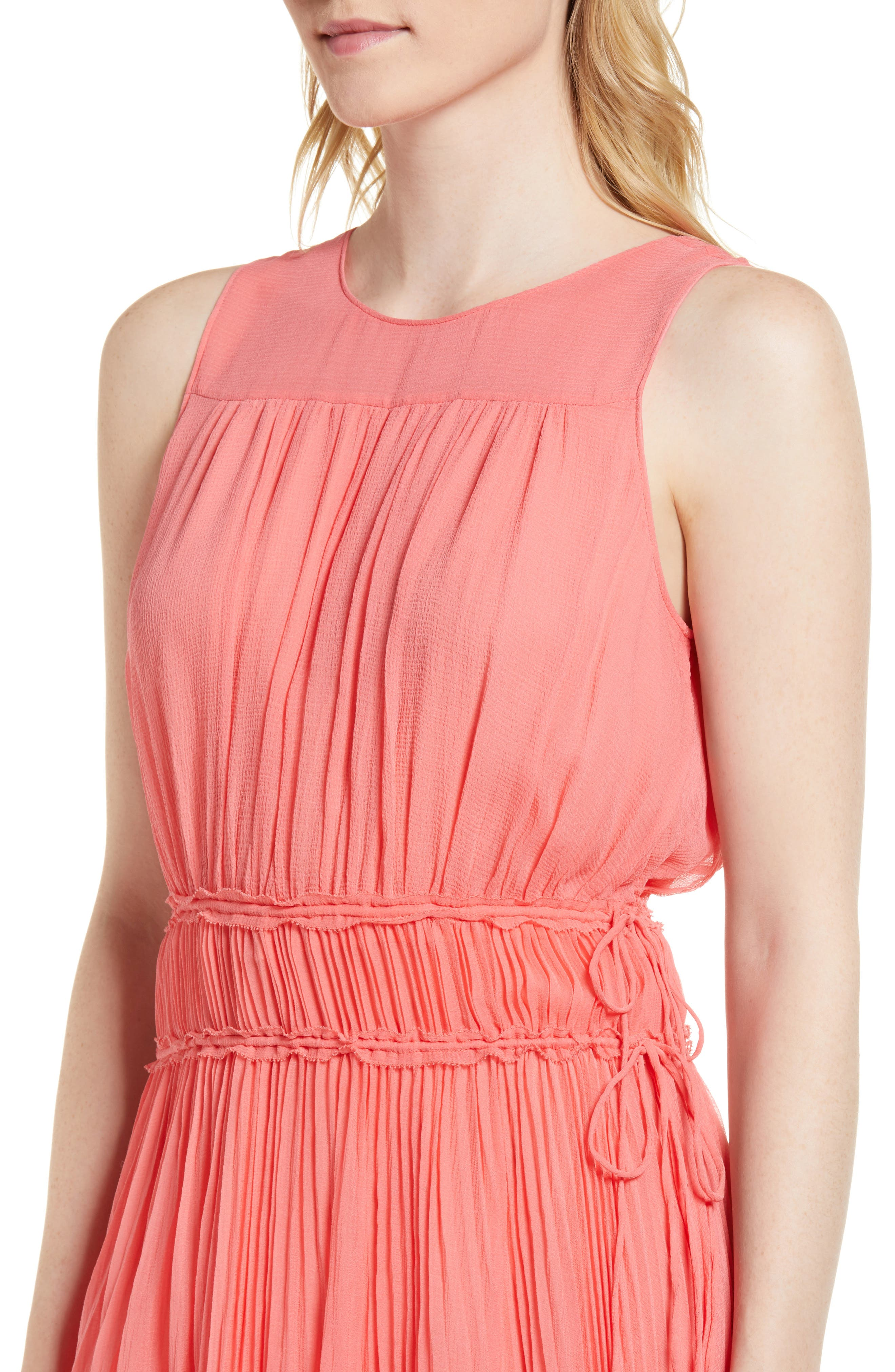 Pleated Crinkle Silk Maxi Dress,                             Alternate thumbnail 4, color,                             958