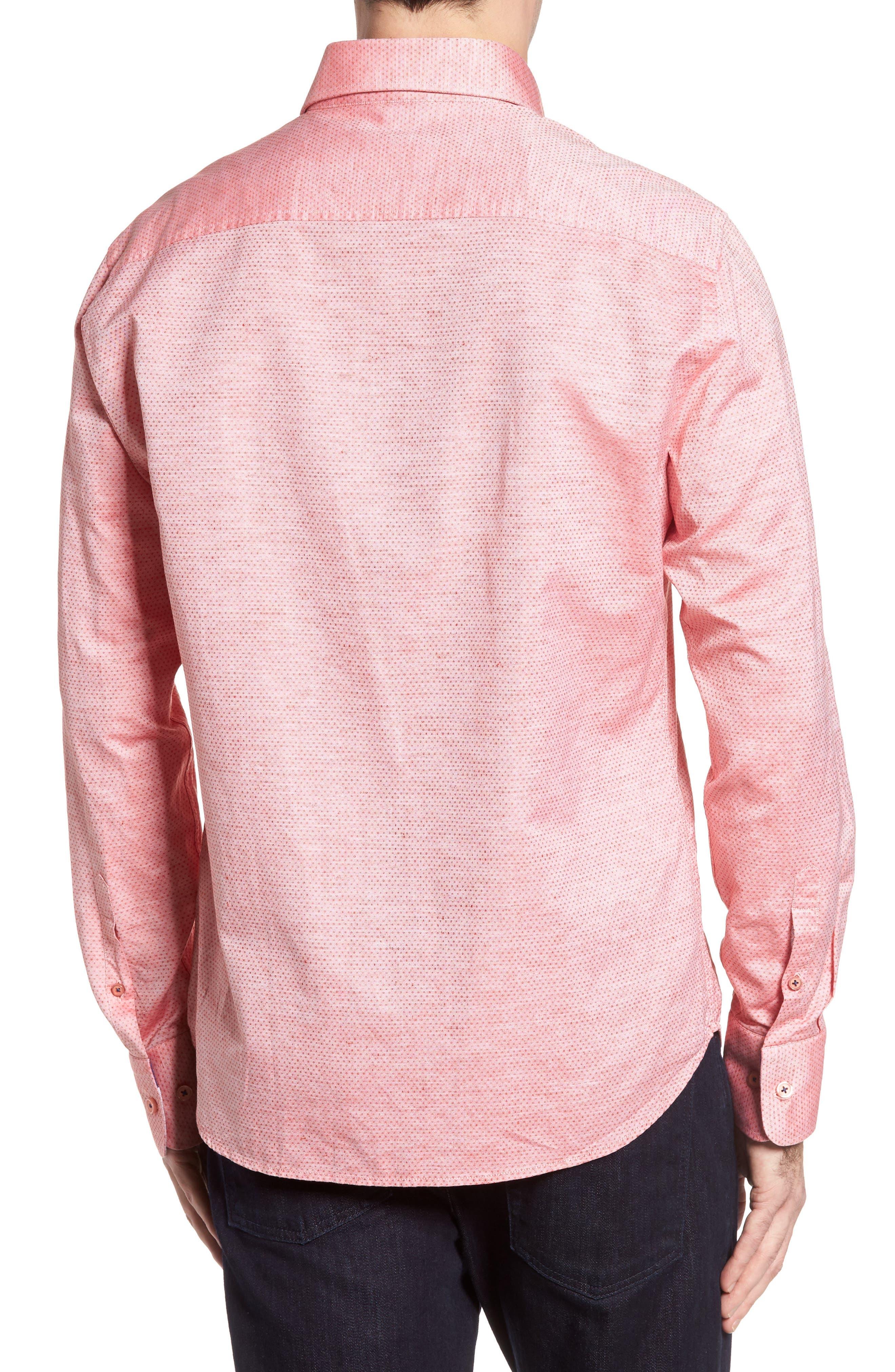 Dobby Cotton & Linen Sport Shirt,                             Alternate thumbnail 8, color,
