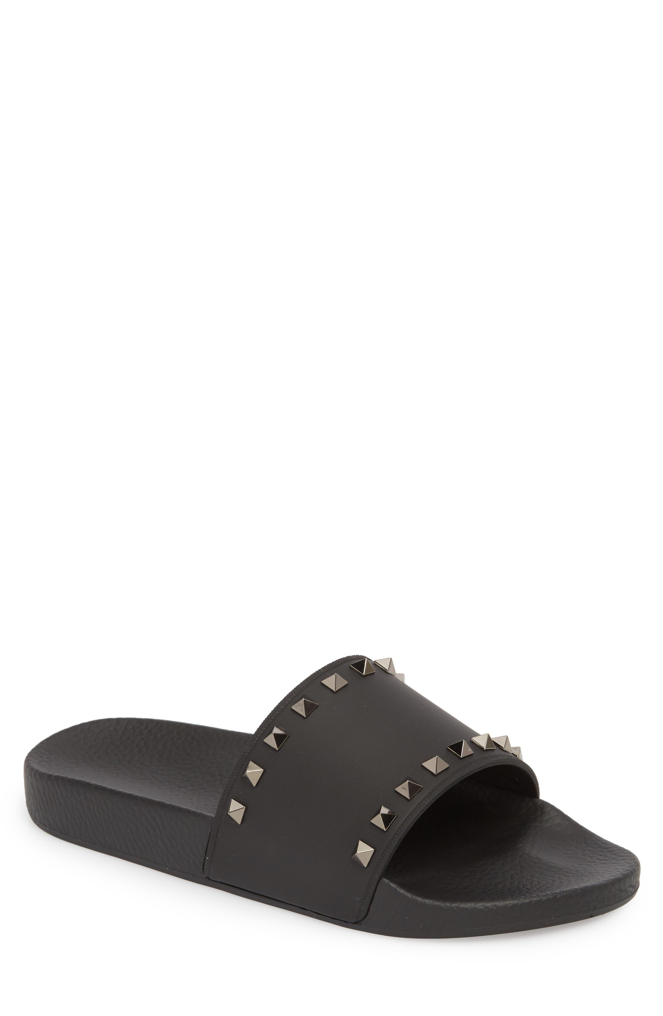Rockstud Slide Sandal,                             Main thumbnail 1, color,                             BLACK