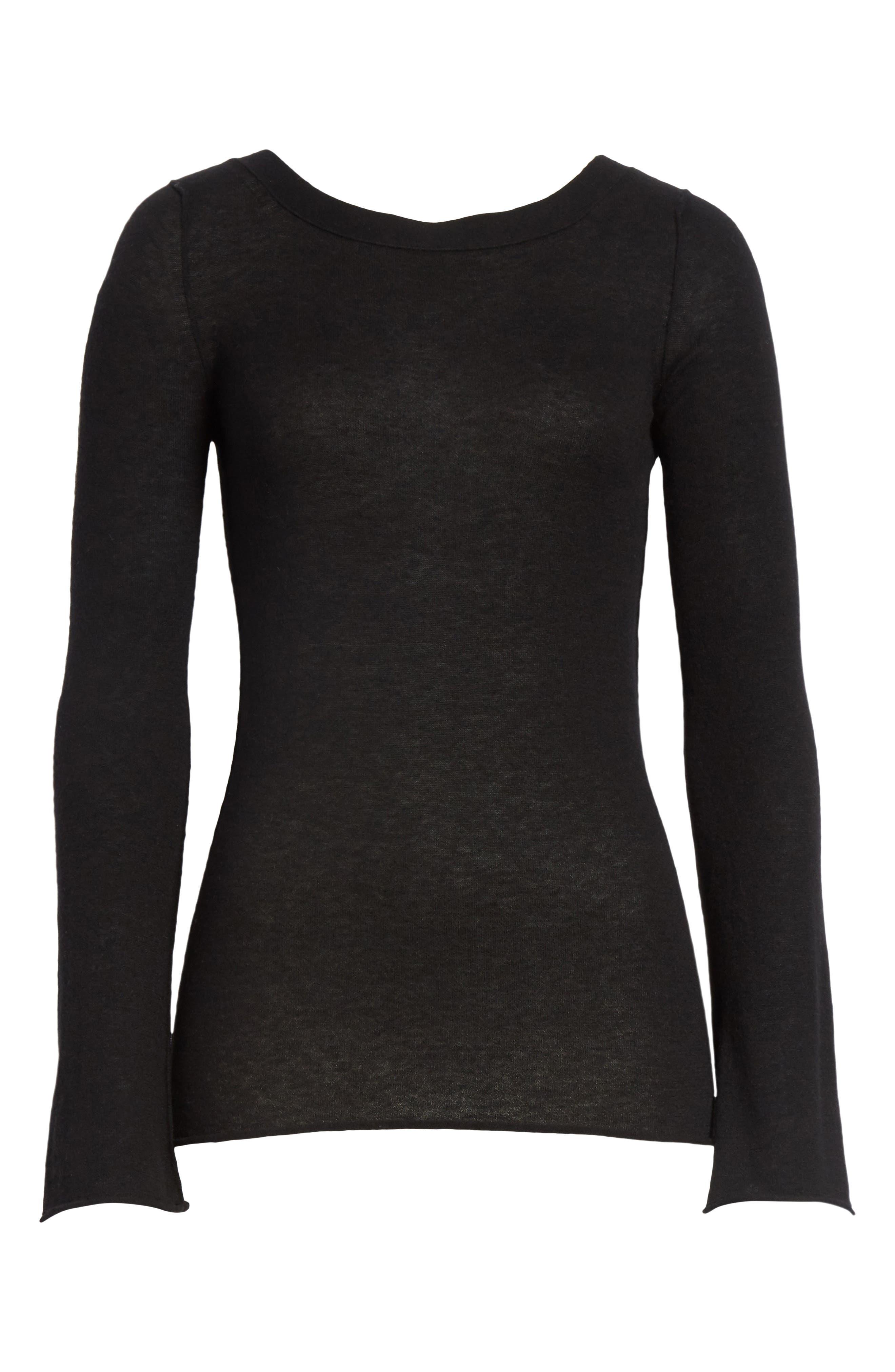Cashmere V-Back Cashmere Sweater,                             Alternate thumbnail 6, color,                             001