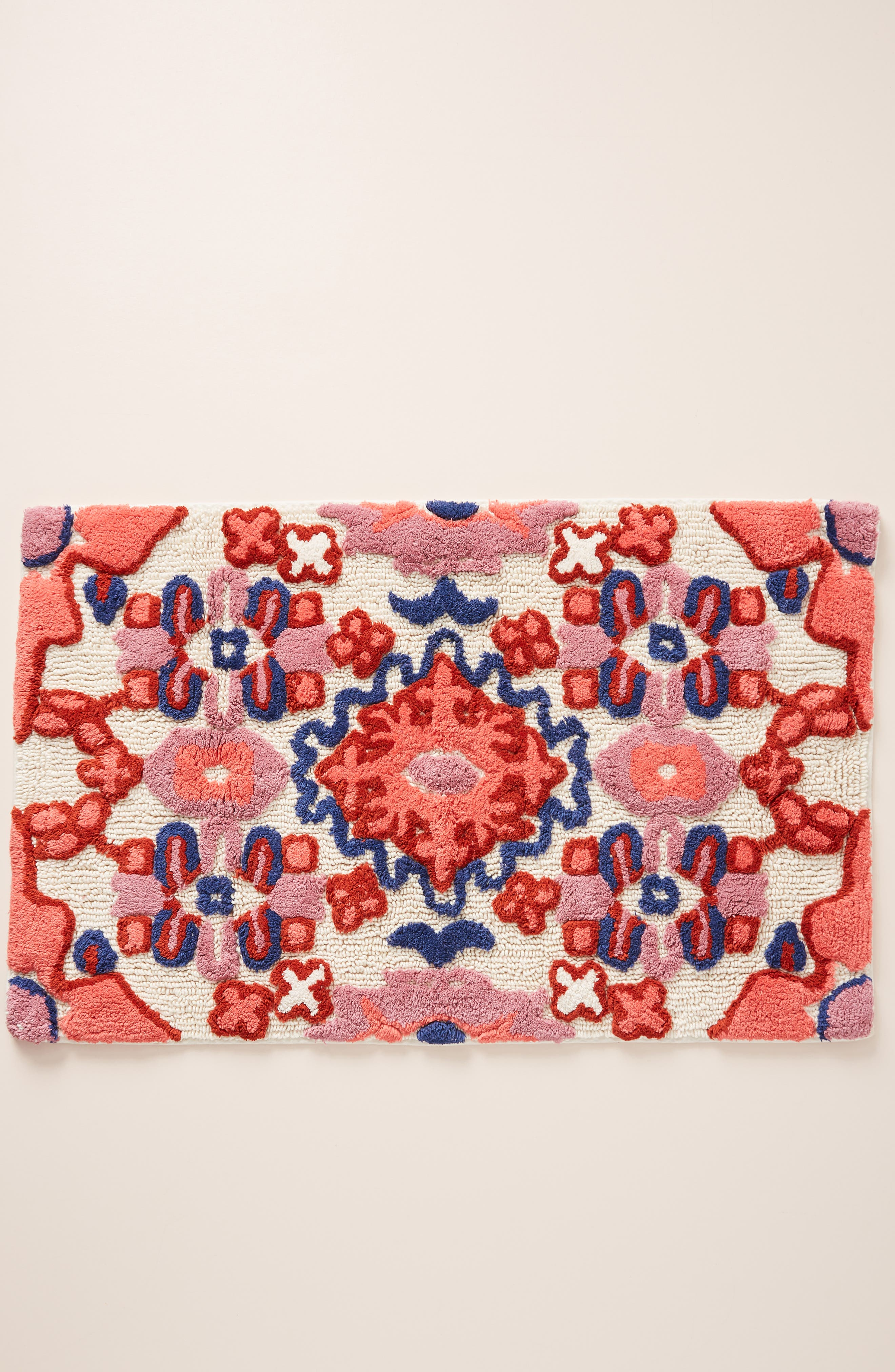 ANTHROPOLOGIE Astor Bath Mat, Main, color, RED COMBO