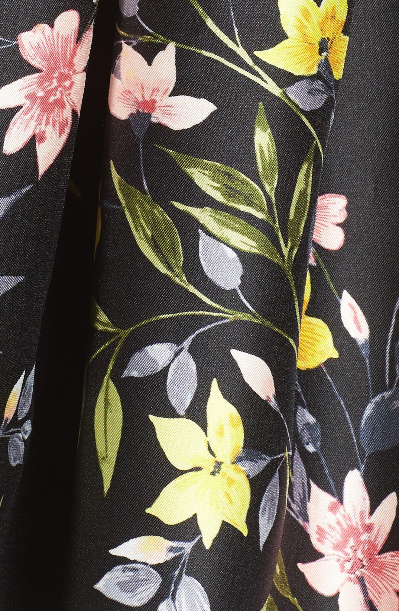 Floral A-Line Skirt,                             Alternate thumbnail 5, color,                             001