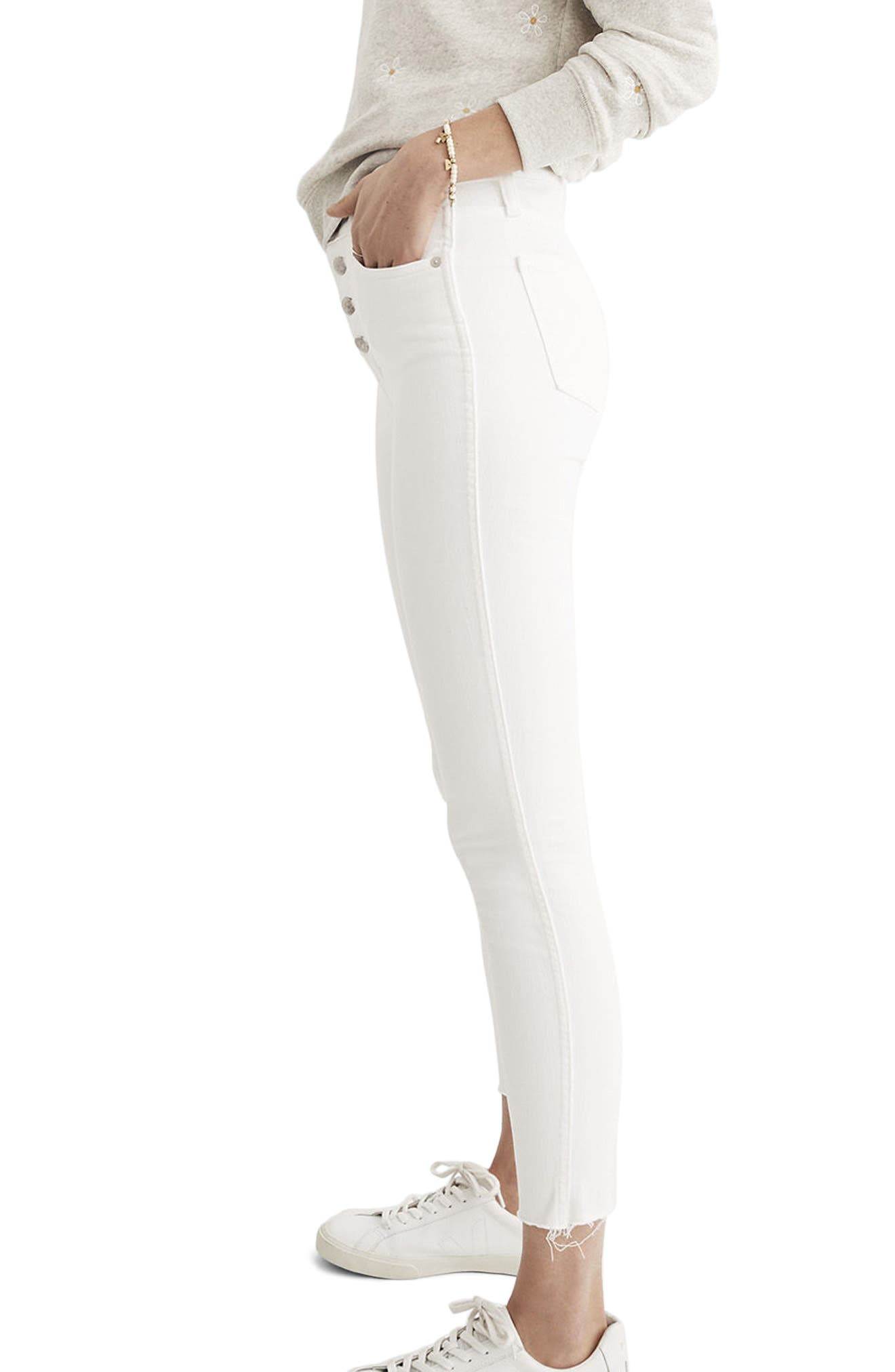10-Inch Button High Waist Crop Skinny Jeans,                             Alternate thumbnail 3, color,                             PURE WHITE