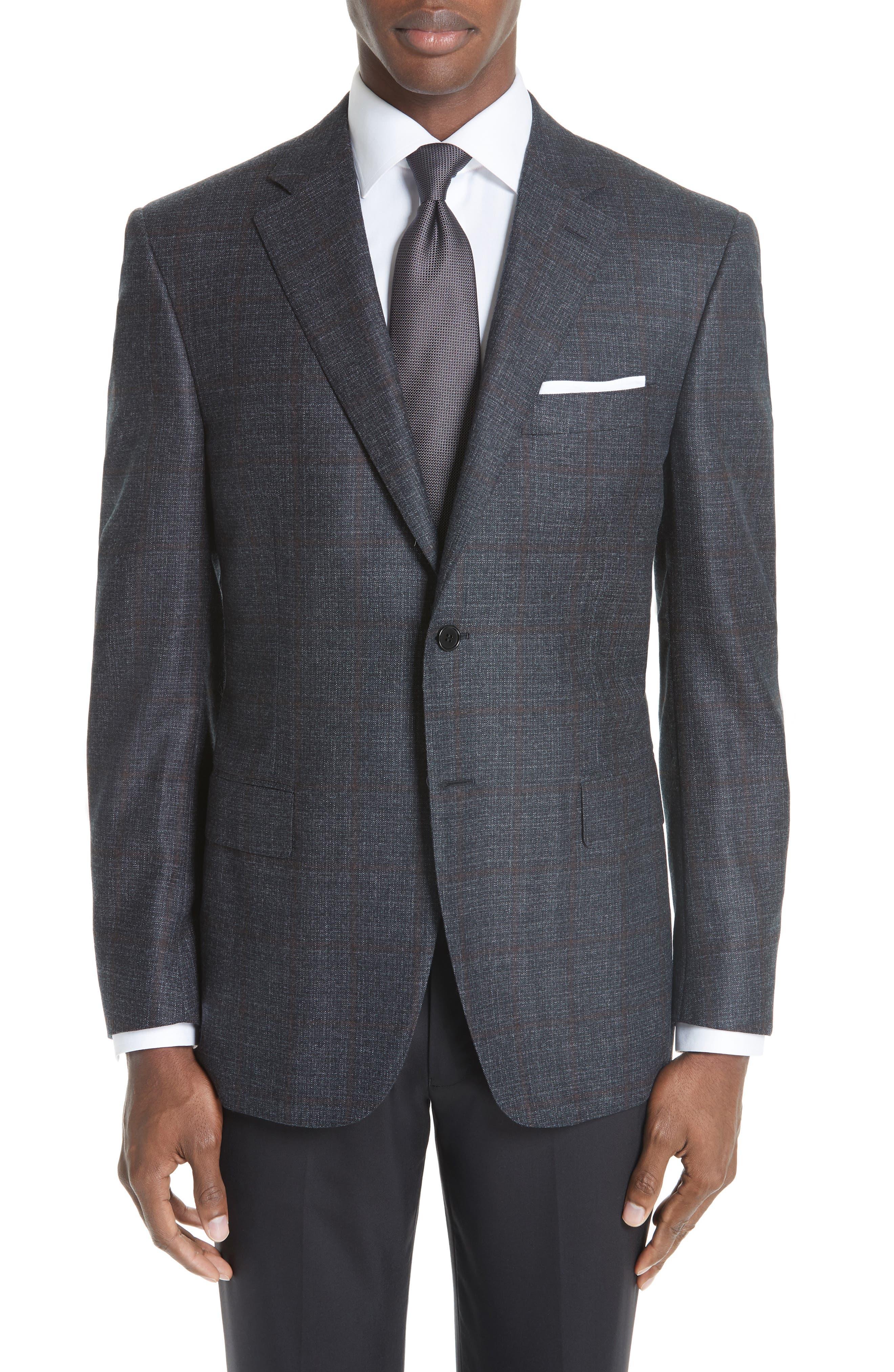 Classic Fit Plaid Wool Sport Coat,                             Main thumbnail 1, color,                             CHARCOAL