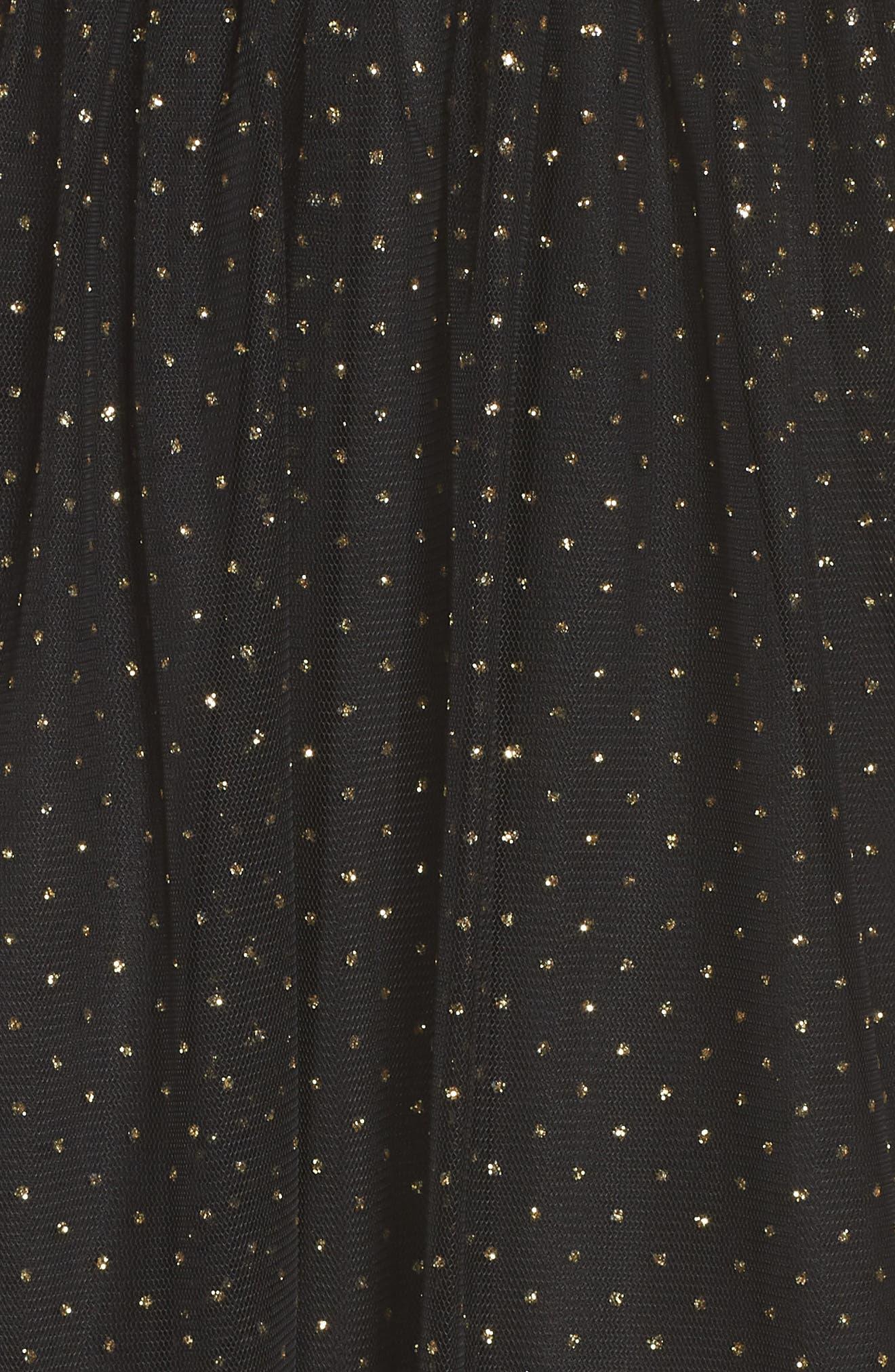 Glitter Dot Fit & Flare Party Dress,                             Alternate thumbnail 5, color,                             BLACK/ GOLD
