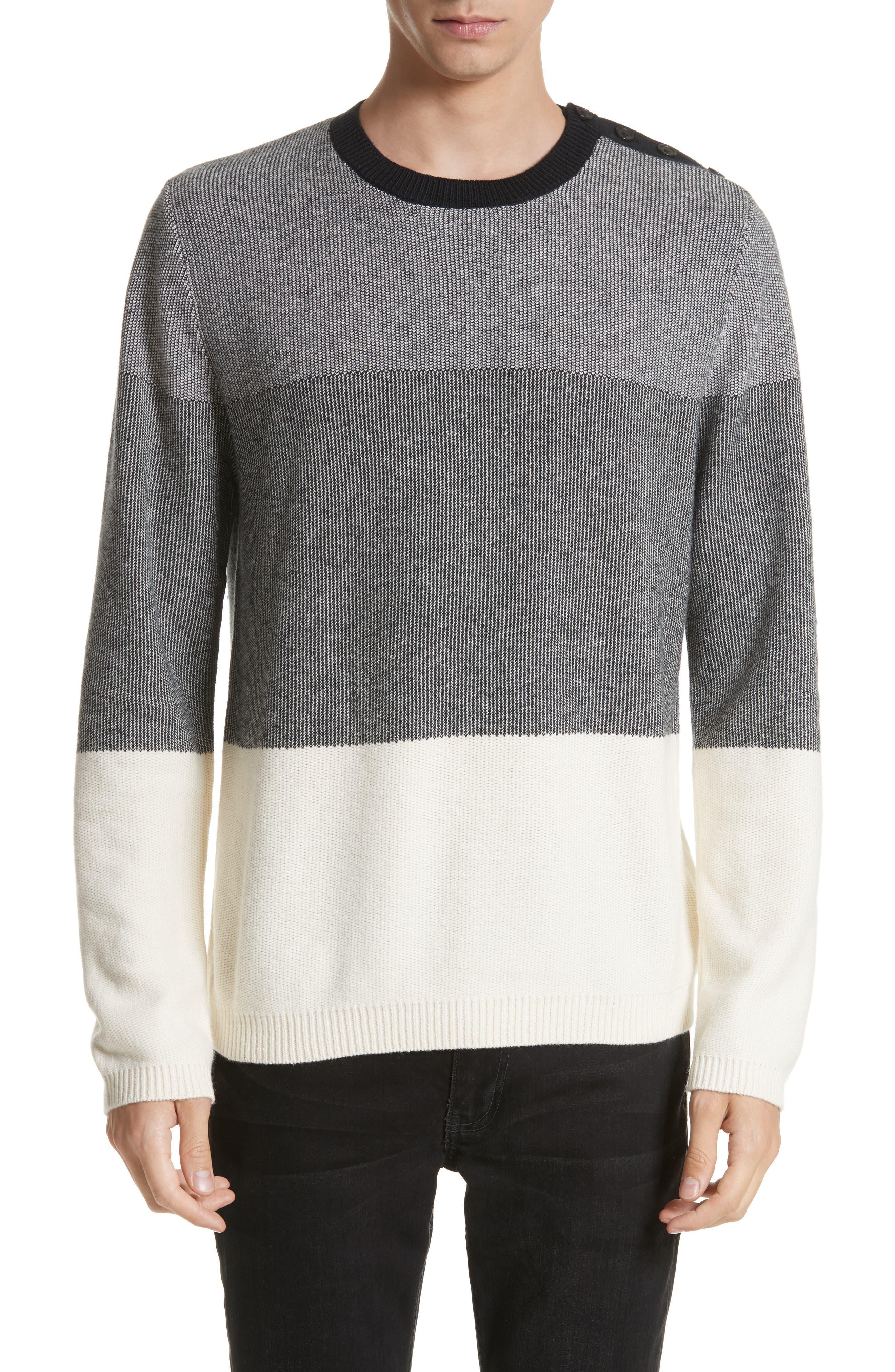 Colorblock Crewneck Sweater,                             Main thumbnail 1, color,                             001
