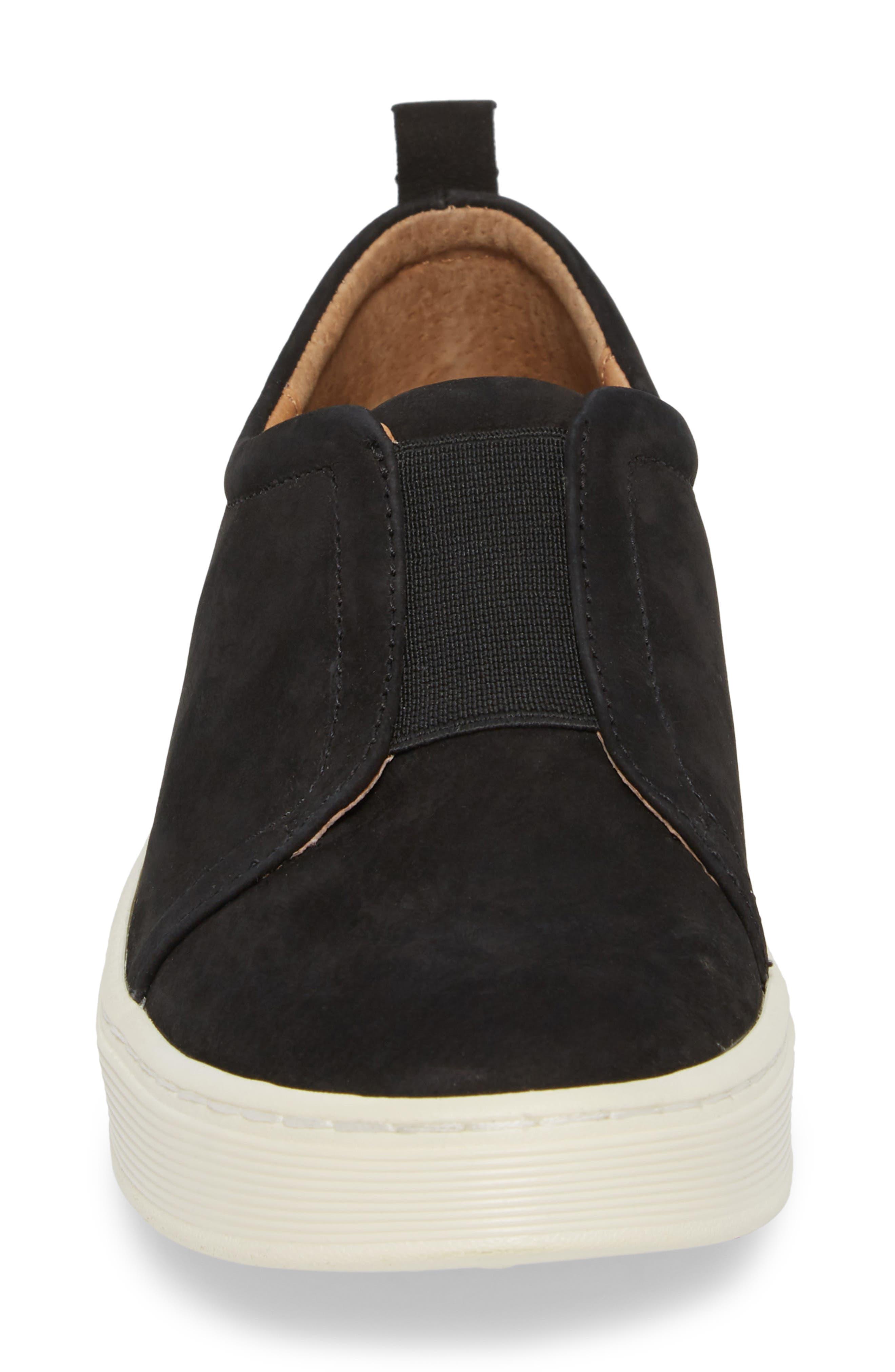 Safia Slip-On Sneaker,                             Alternate thumbnail 4, color,                             TRUE BLACK LEATHER