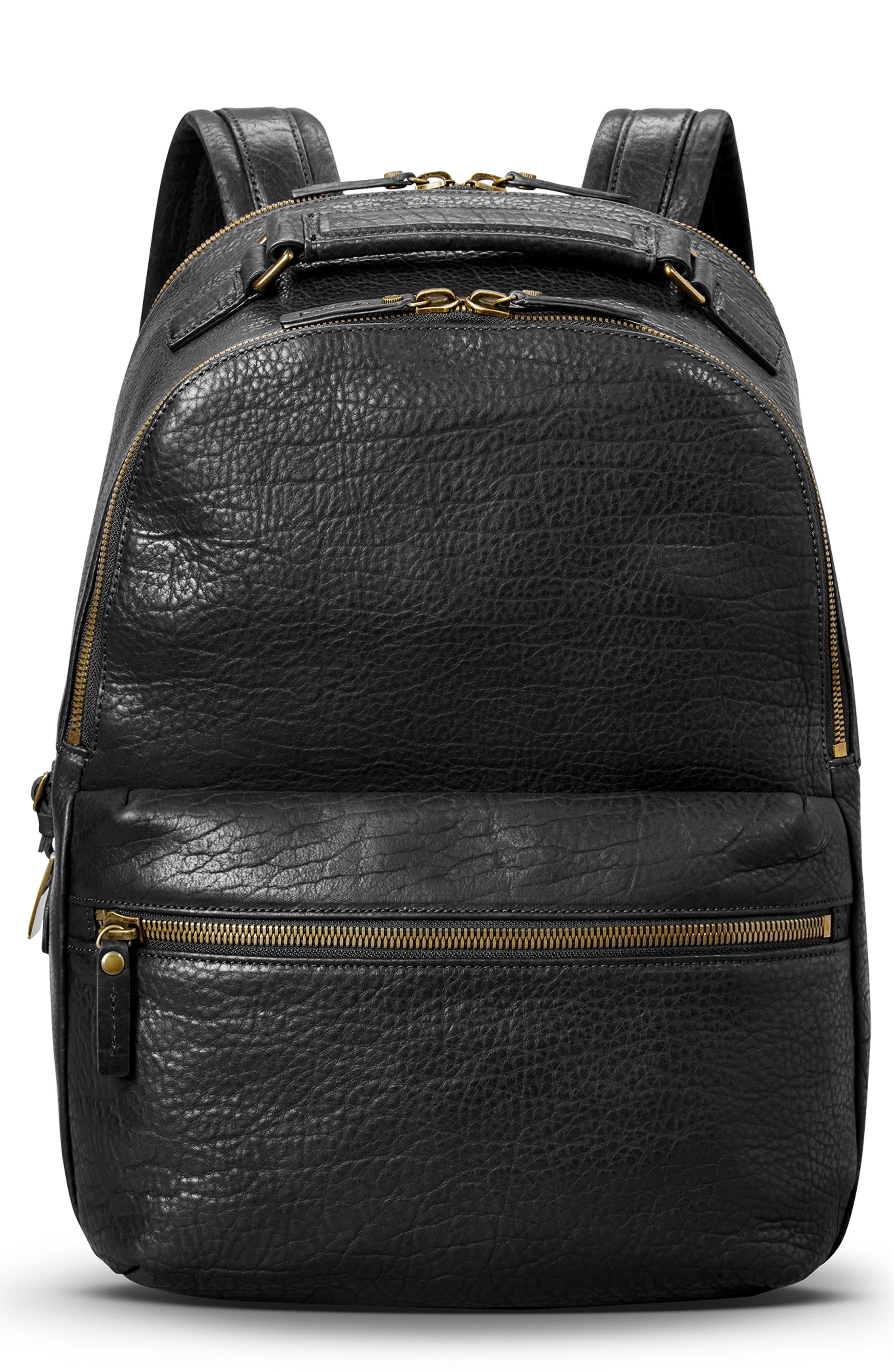 Bison Runwell Leather Backpack,                         Main,                         color, BLACK