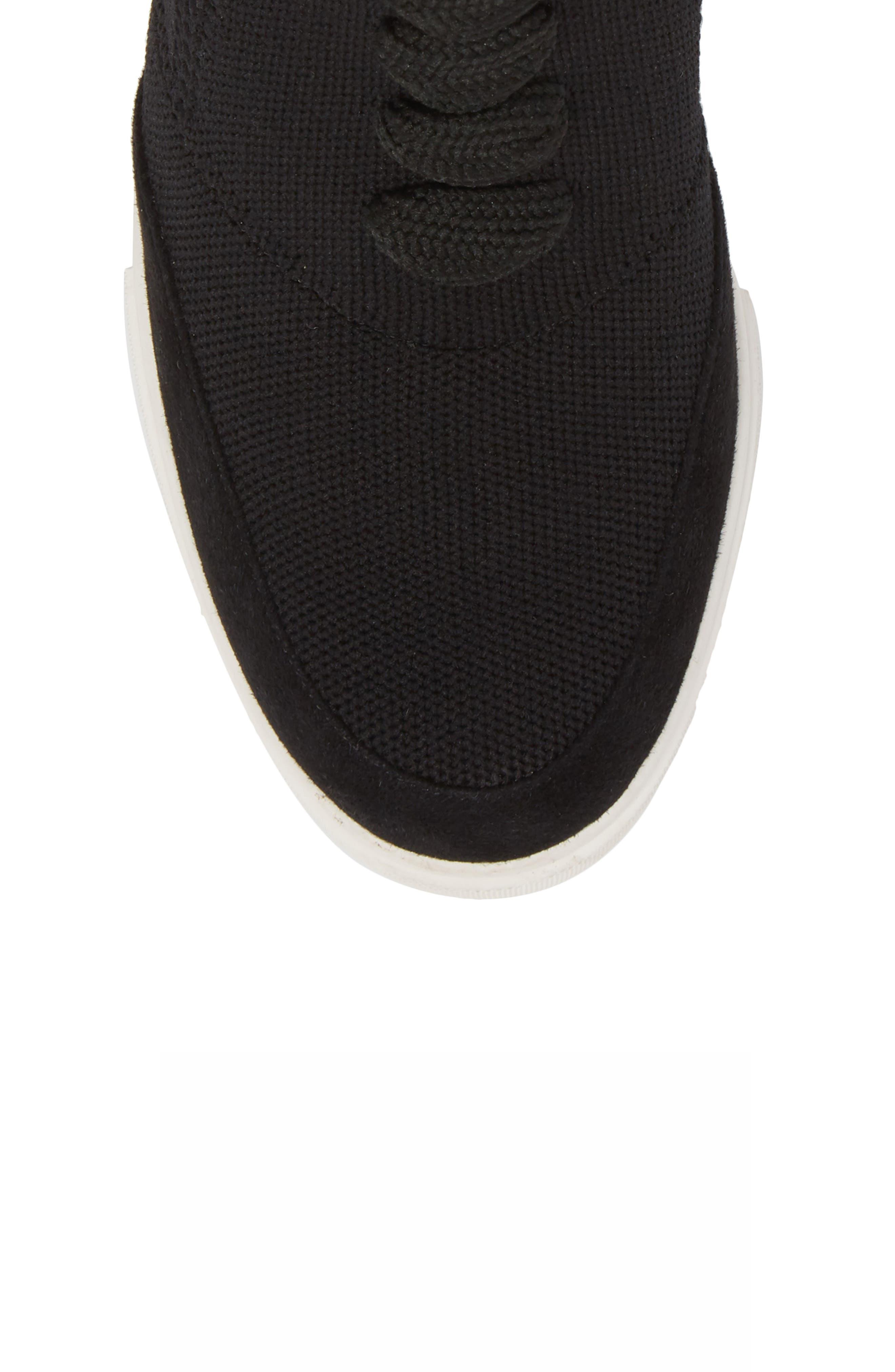Fabiana Wedge Sneaker,                             Alternate thumbnail 5, color,                             BLACK SUEDE