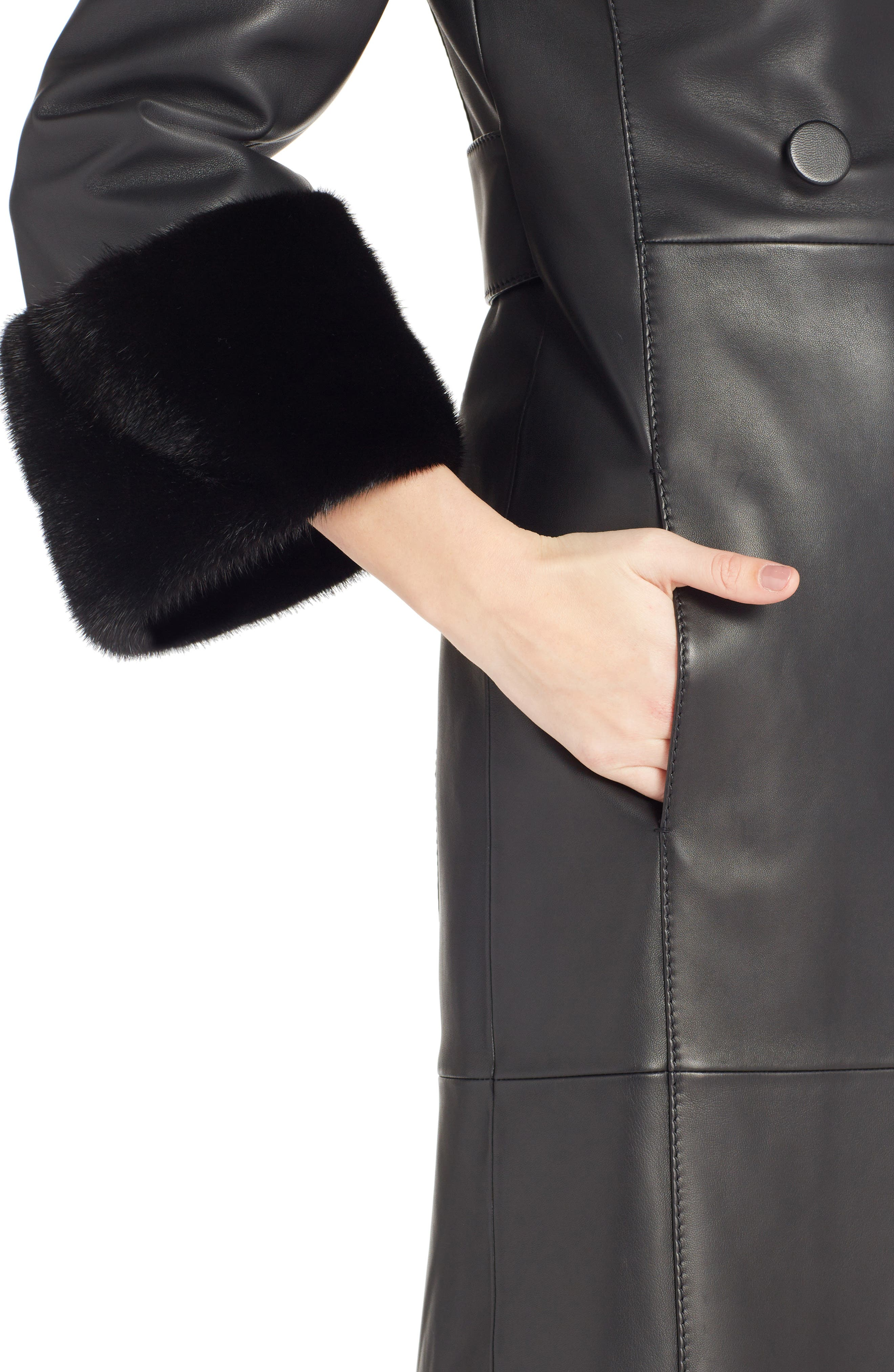 FENDI,                             Leather Double Breasted Coat with Genuine Mink Fur Trim,                             Alternate thumbnail 4, color,                             BLACK