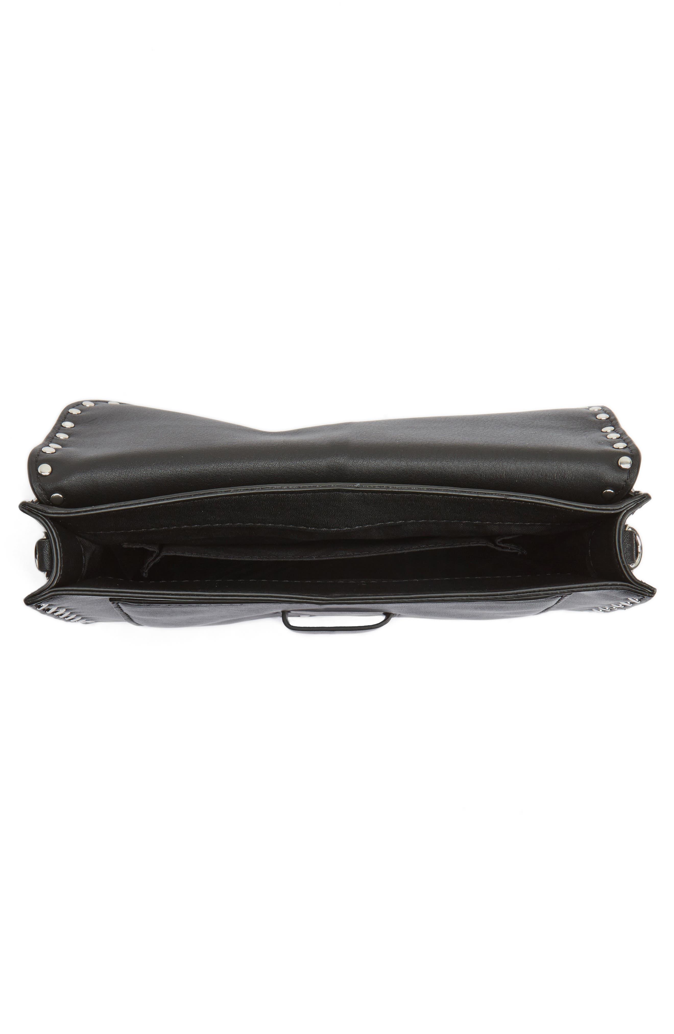 Medium Midnighter Leather Crossbody Bag,                             Alternate thumbnail 4, color,                             001