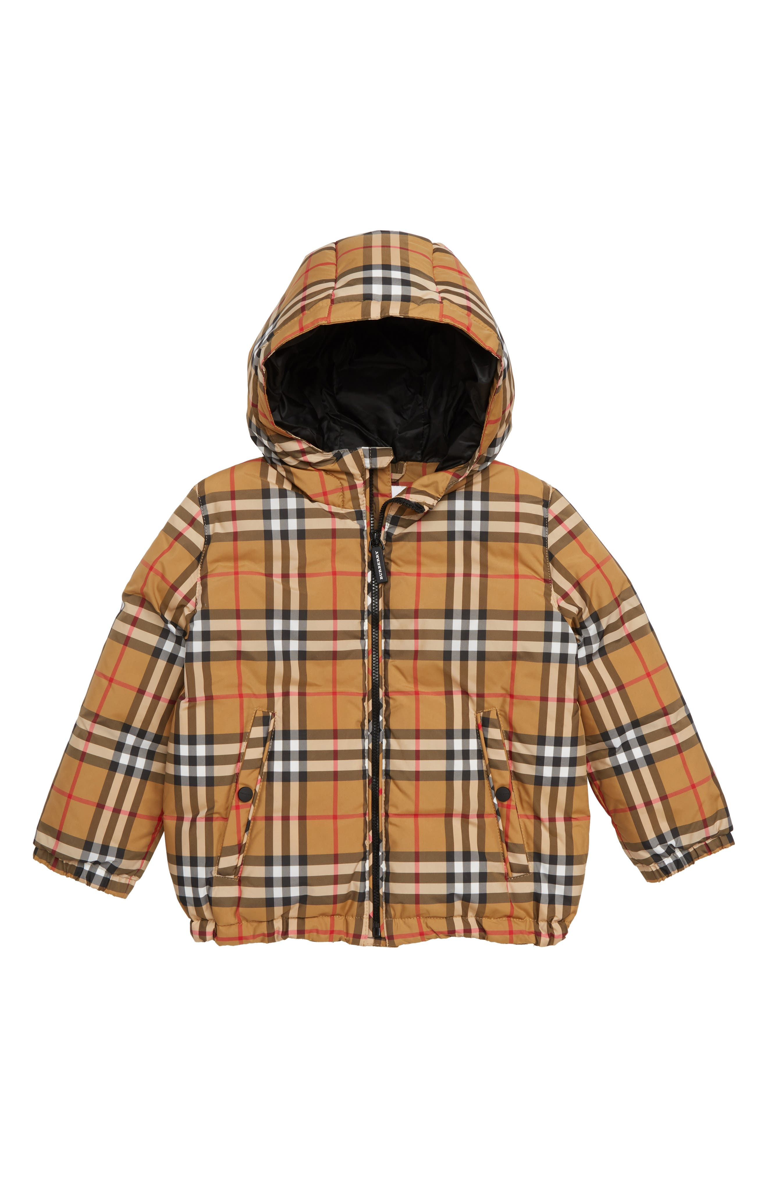 BURBERRY Rio Check Hooded Jacket, Main, color, 701