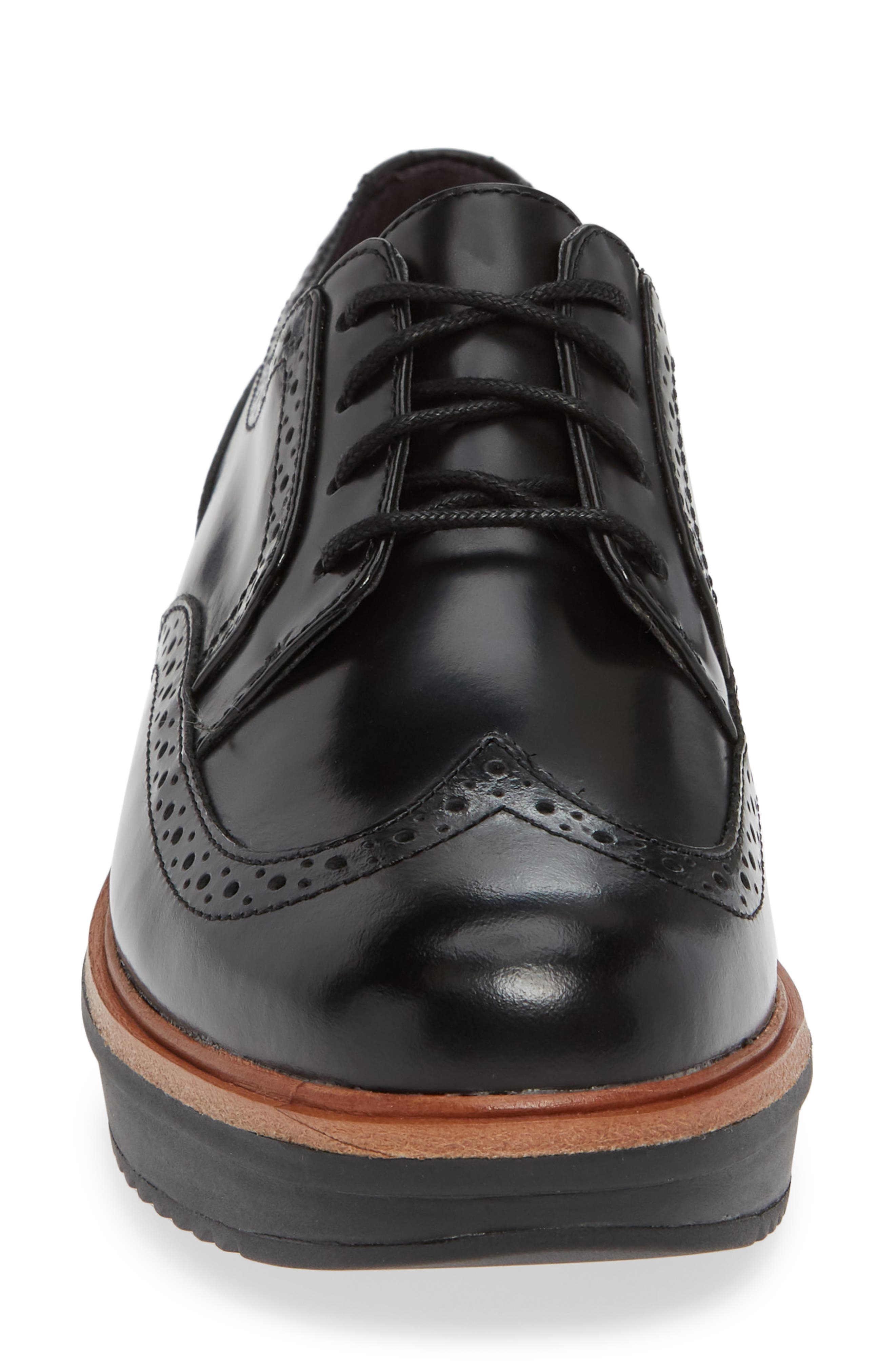 Teadale Maira Wingtip Derby,                             Alternate thumbnail 4, color,                             BLACK LEATHER