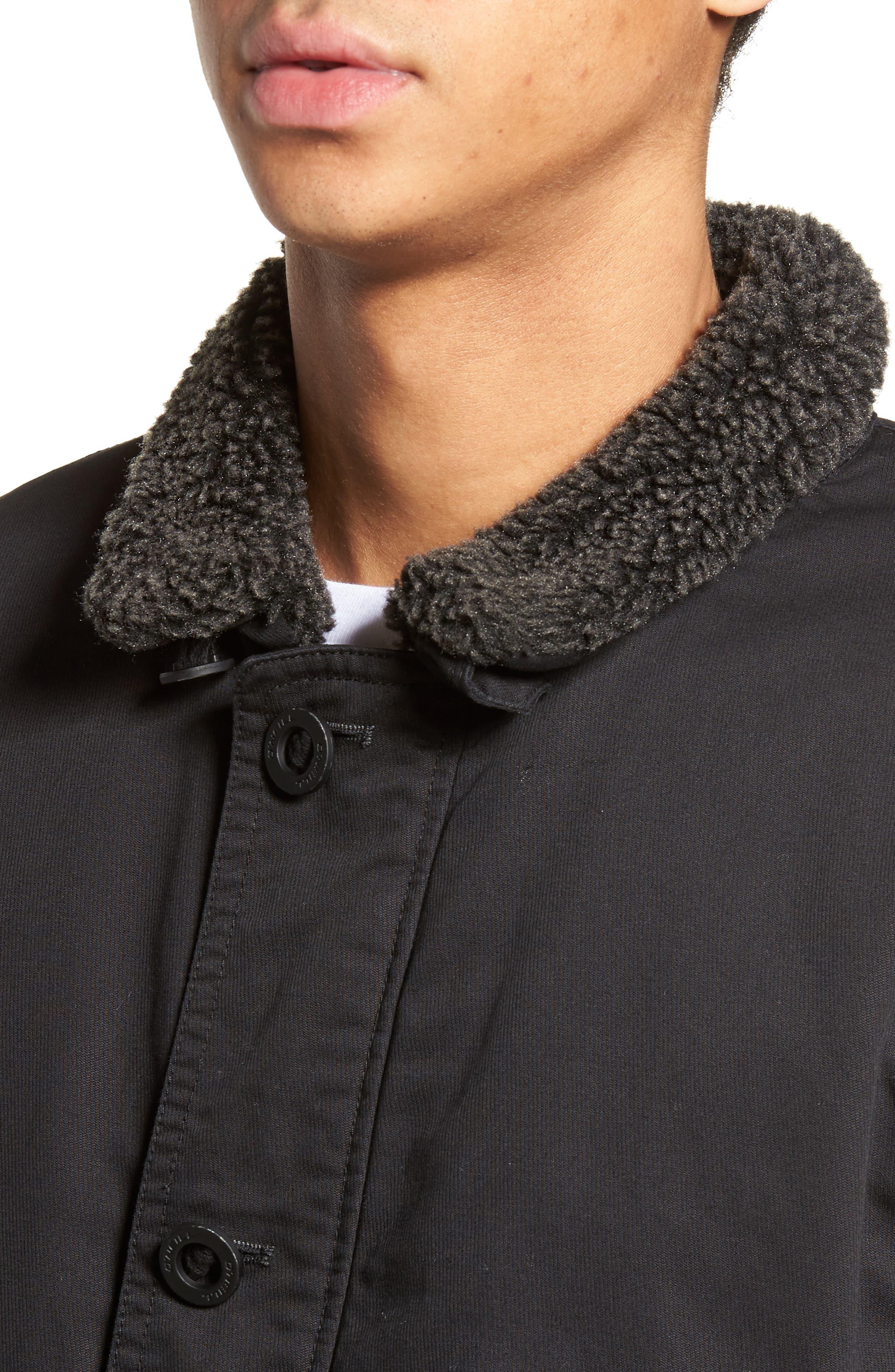 Burnside Faux Shearling Trim Deck Jacket,                             Alternate thumbnail 4, color,                             001