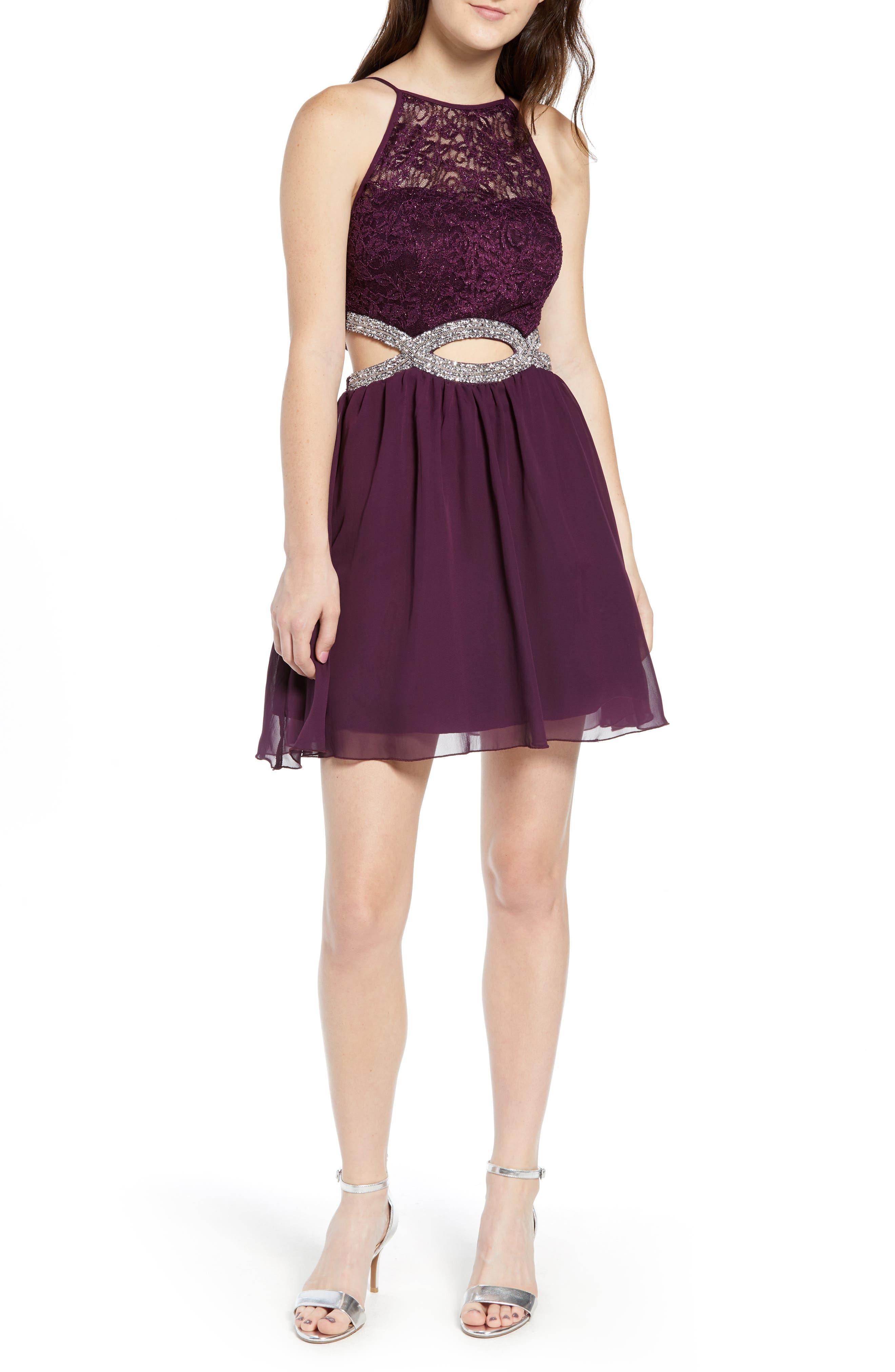 Lace Halter Dress,                             Main thumbnail 1, color,                             BERRY WINE