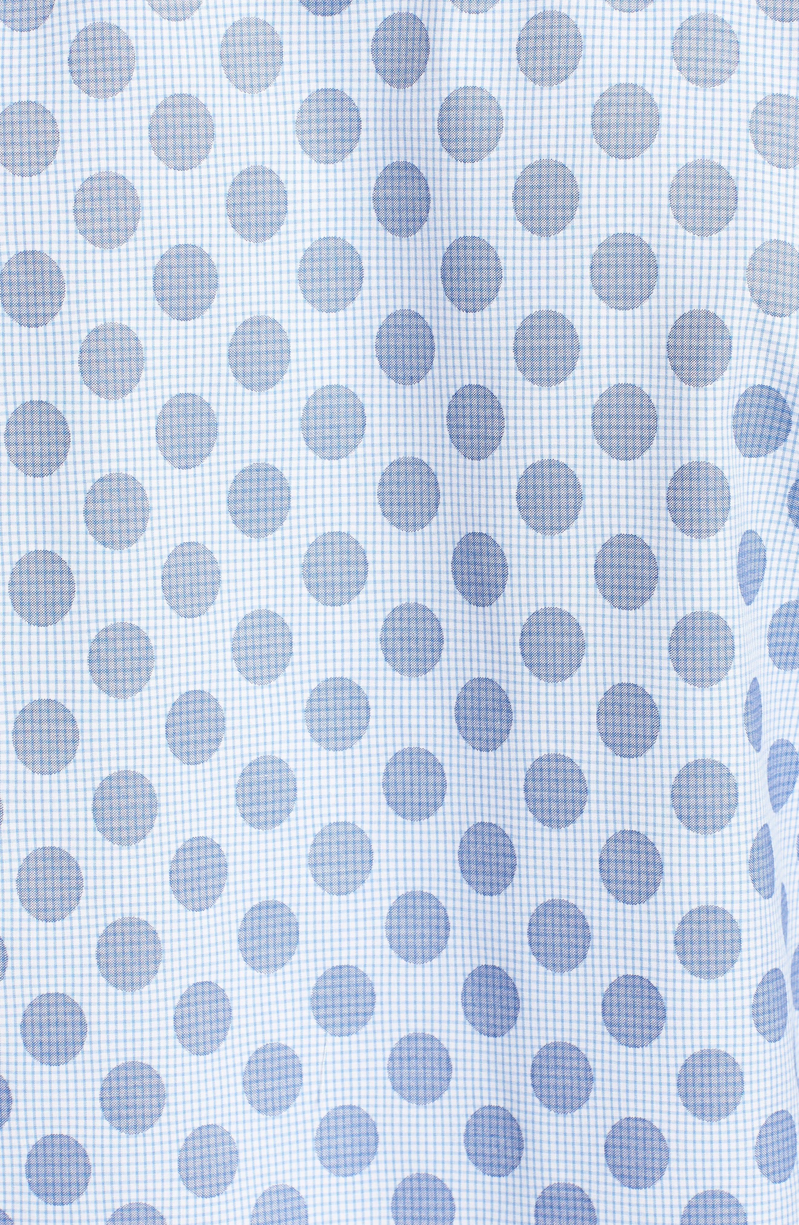 Classic Fit Dot Check Sport Shirt,                             Alternate thumbnail 5, color,                             AIR BLUE