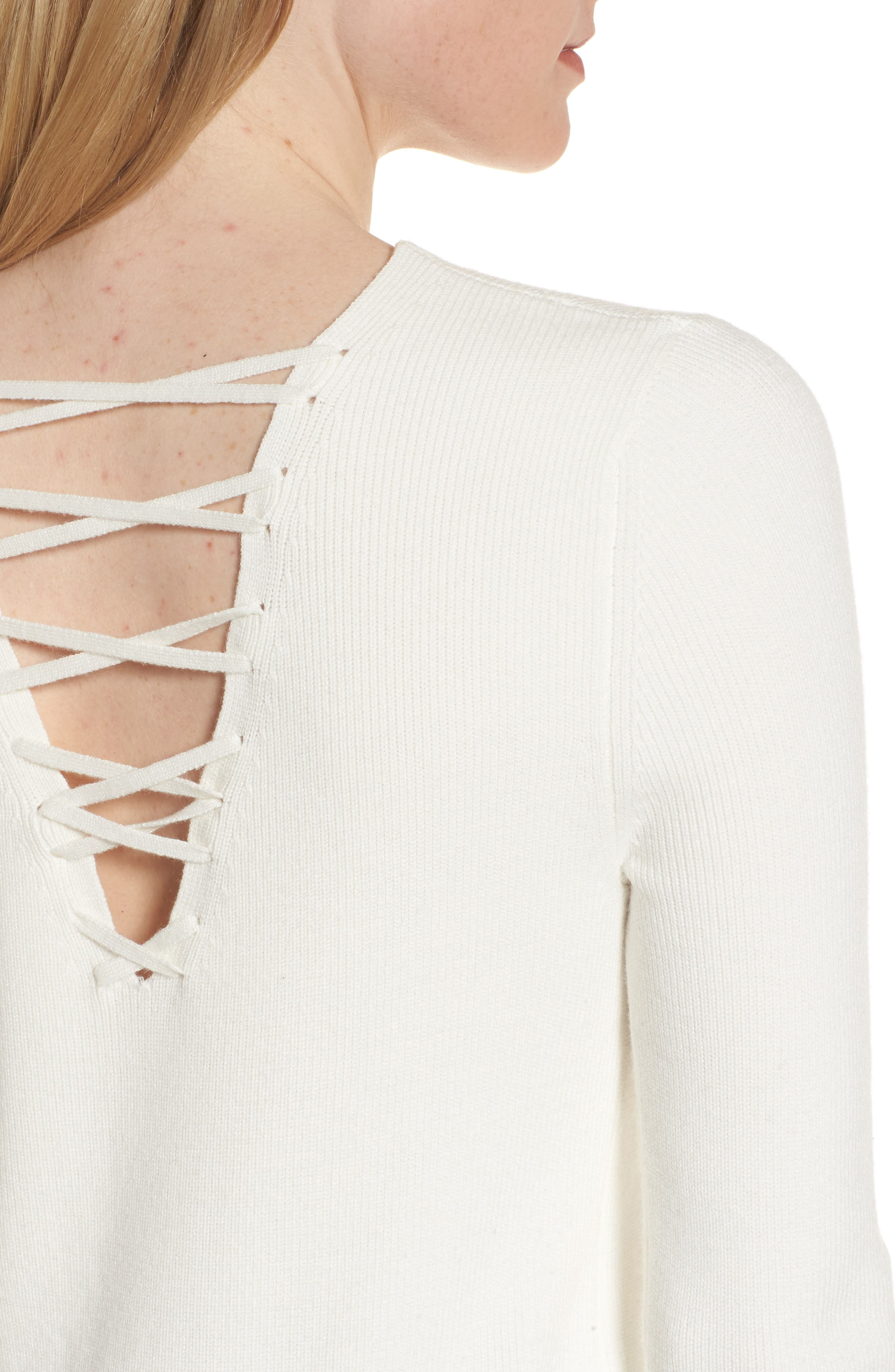 Lace-Up Back Sweater,                             Alternate thumbnail 8, color,