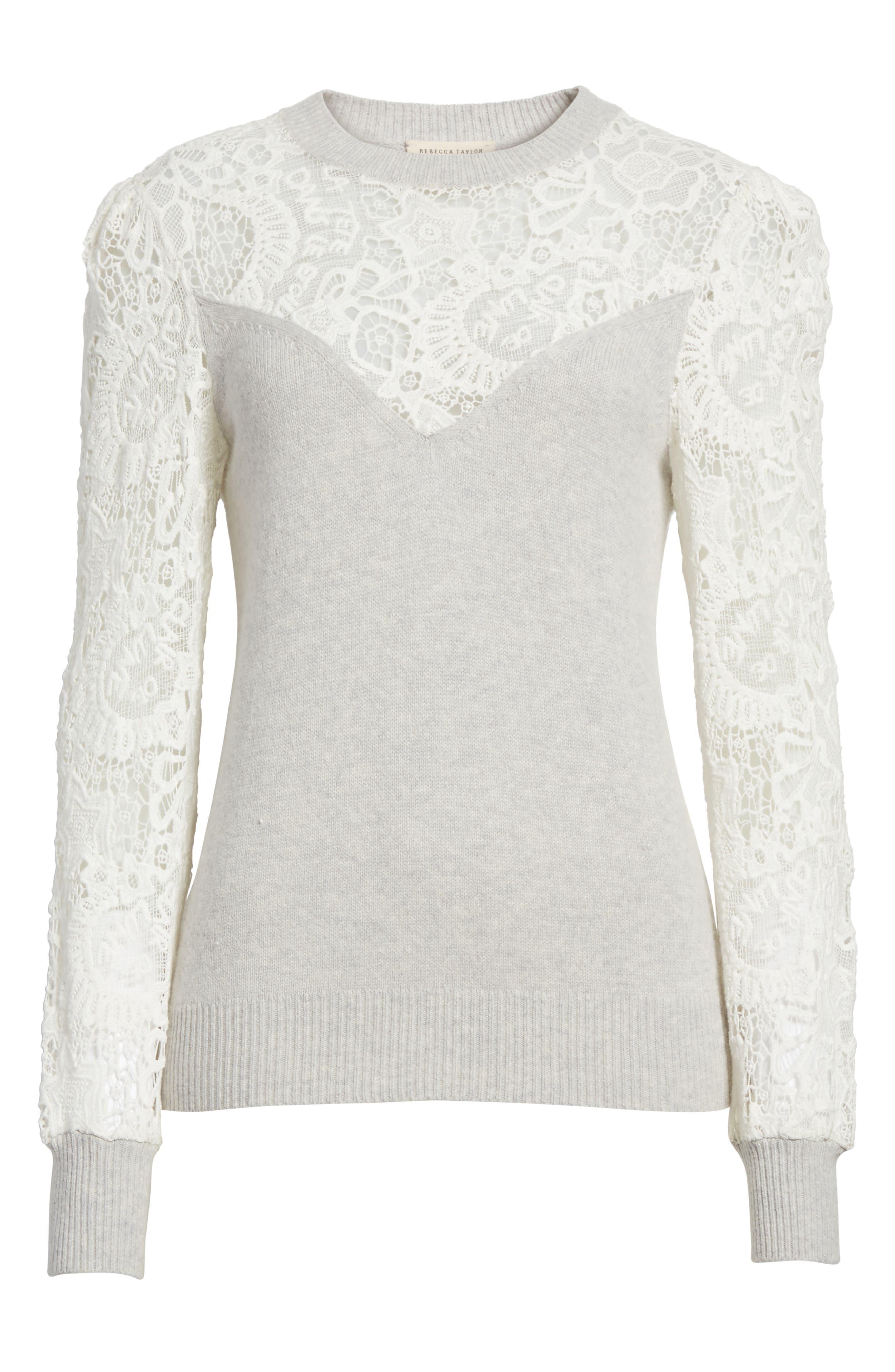 Lace Trim Knit Pullover,                             Alternate thumbnail 6, color,