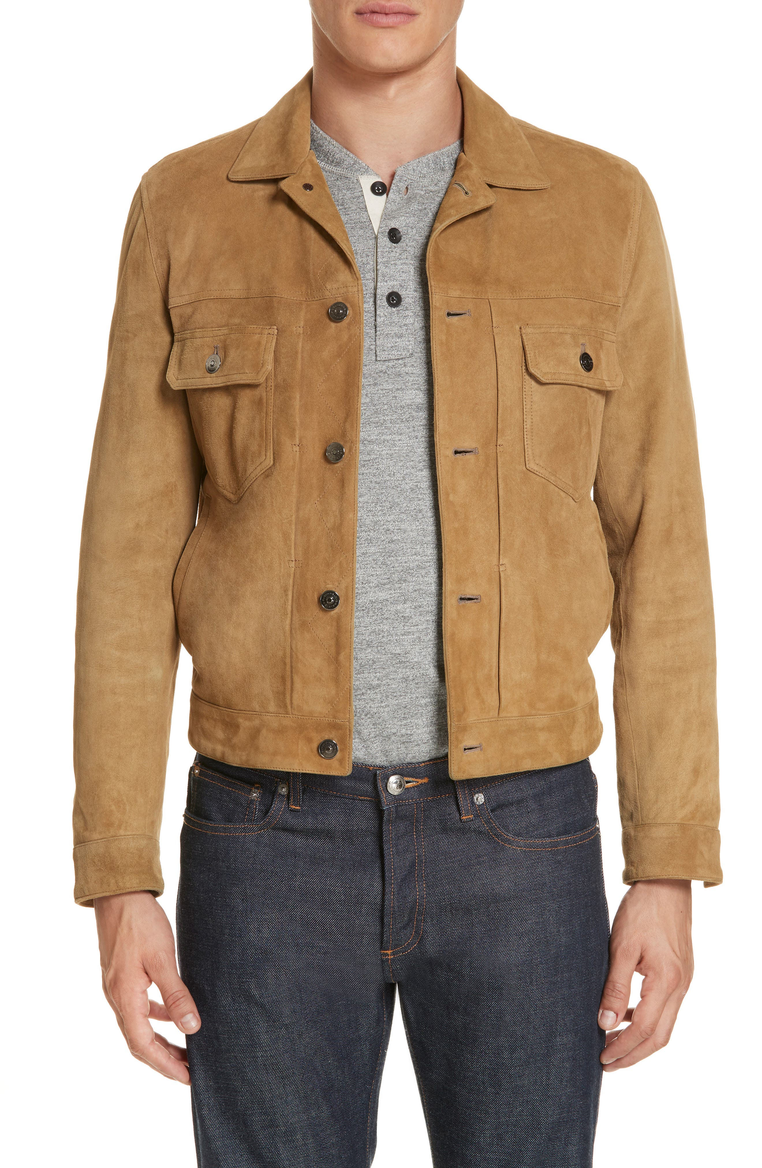 Suede Western Jacket,                             Main thumbnail 1, color,                             WALNUT