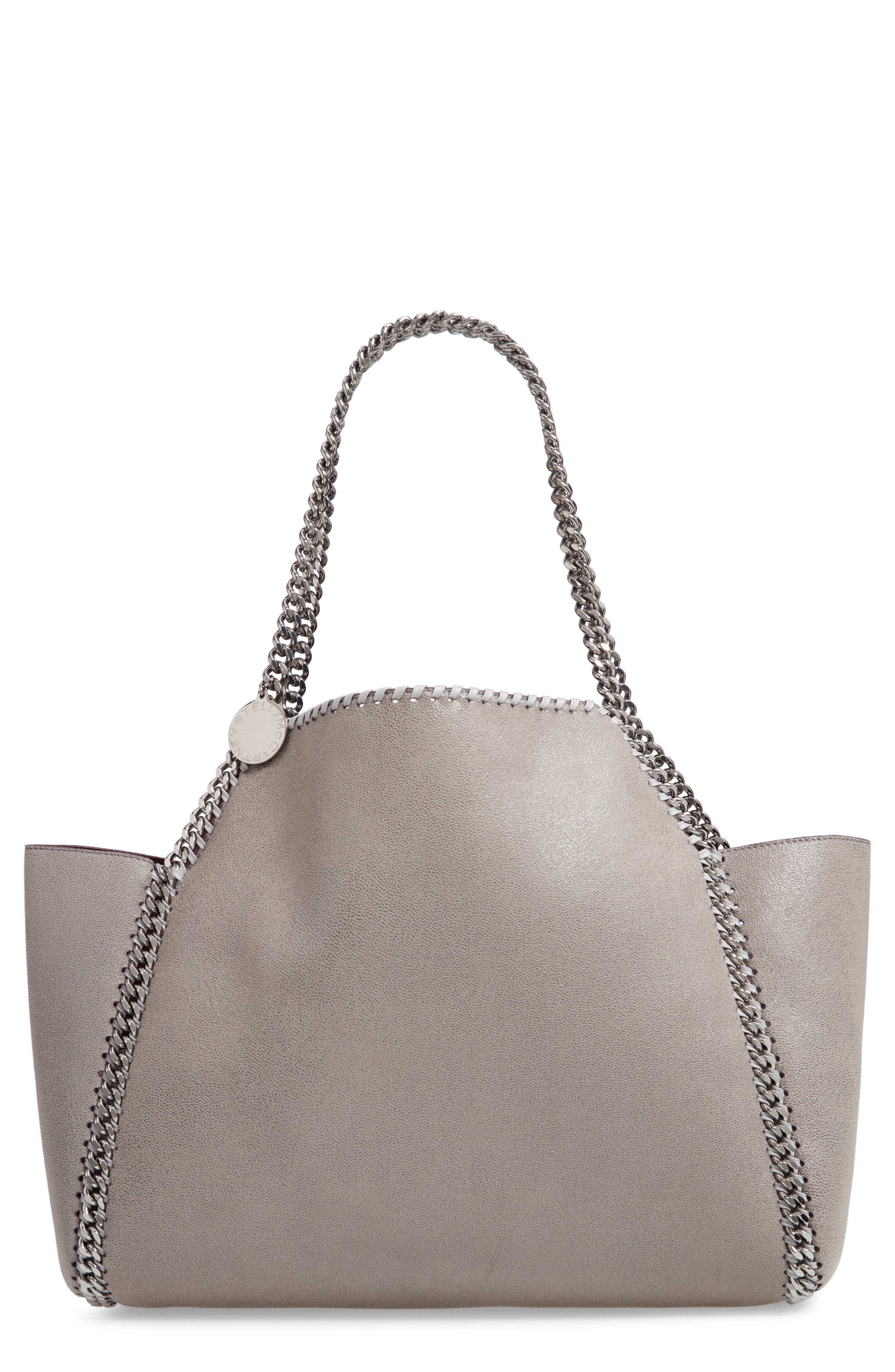 Small Oleo Deer Reversible Faux Leather Tote,                             Main thumbnail 1, color,                             LIGHT GREY