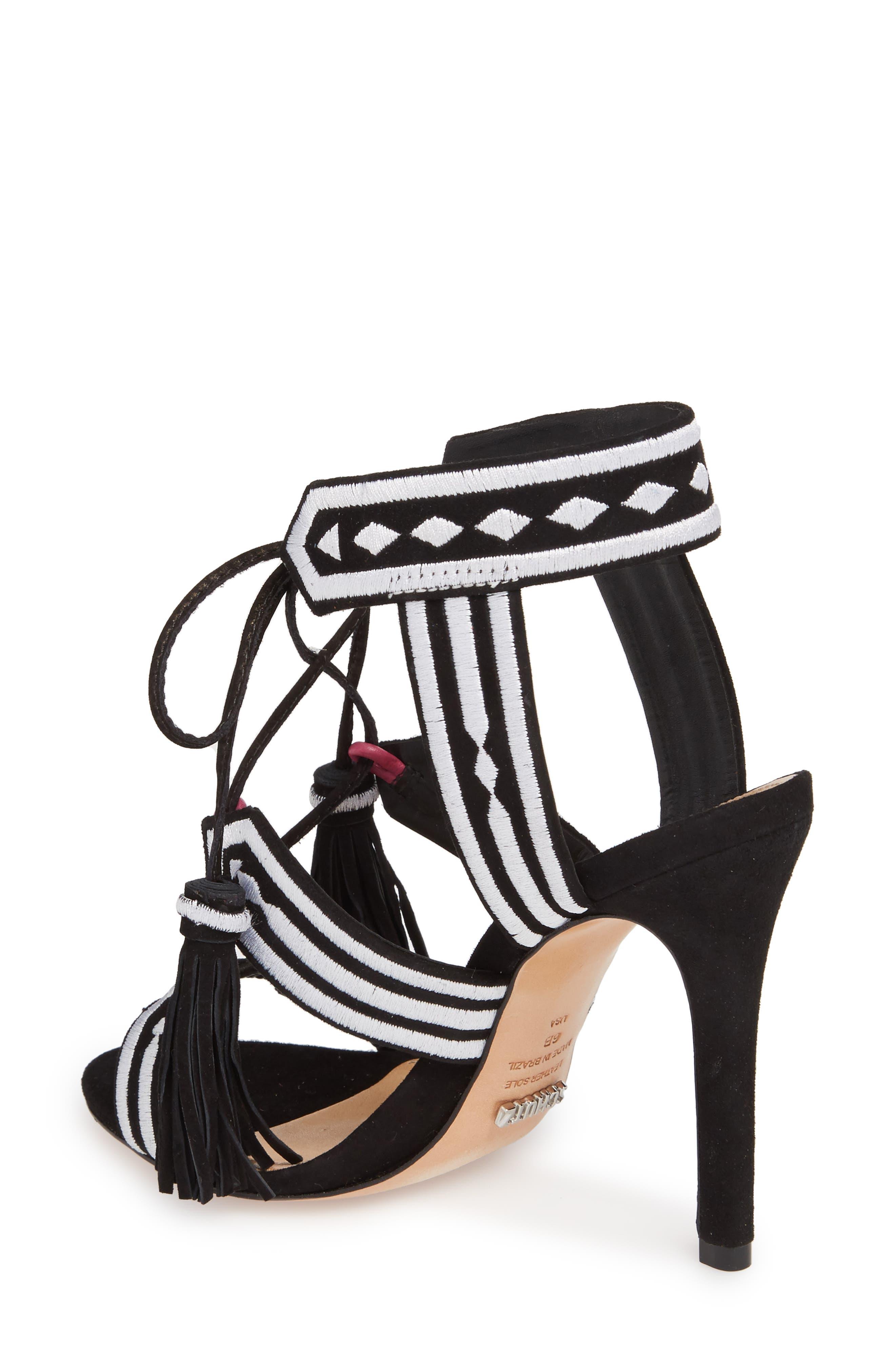 Eurica Embroidered Tassel Sandal,                             Alternate thumbnail 2, color,                             001