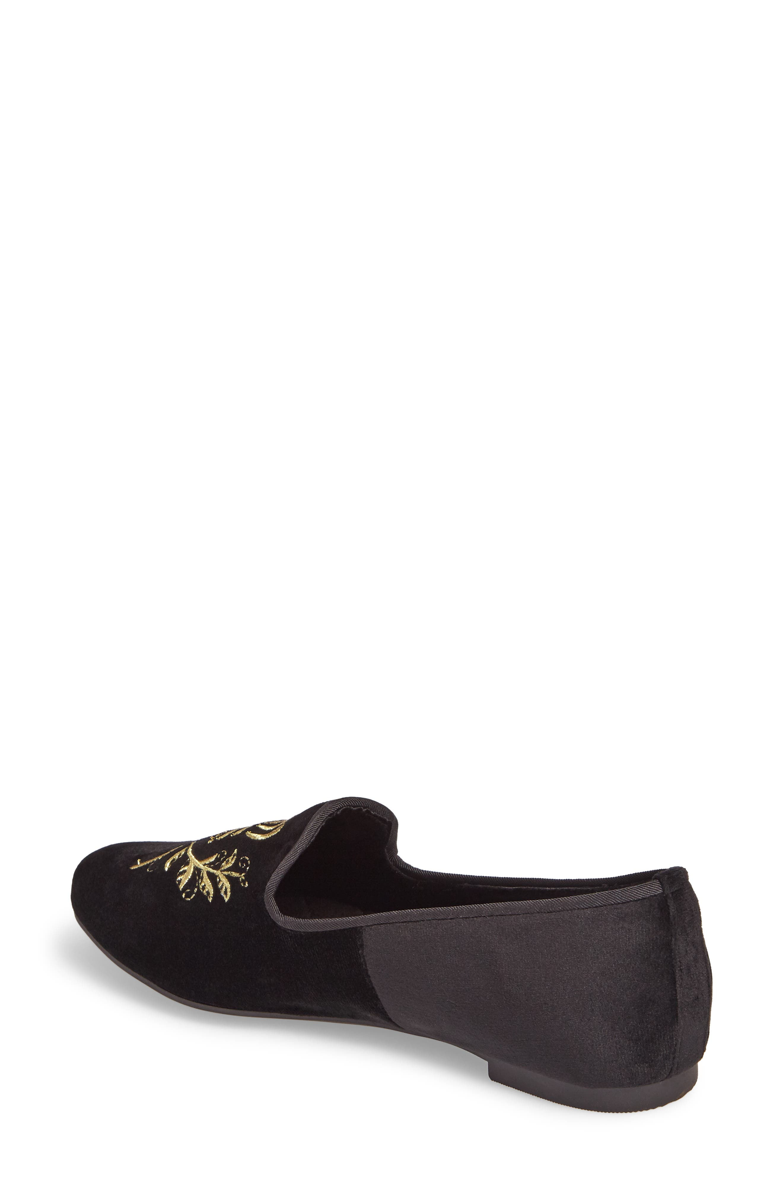 Romi Embroidered Flat,                             Alternate thumbnail 2, color,                             001