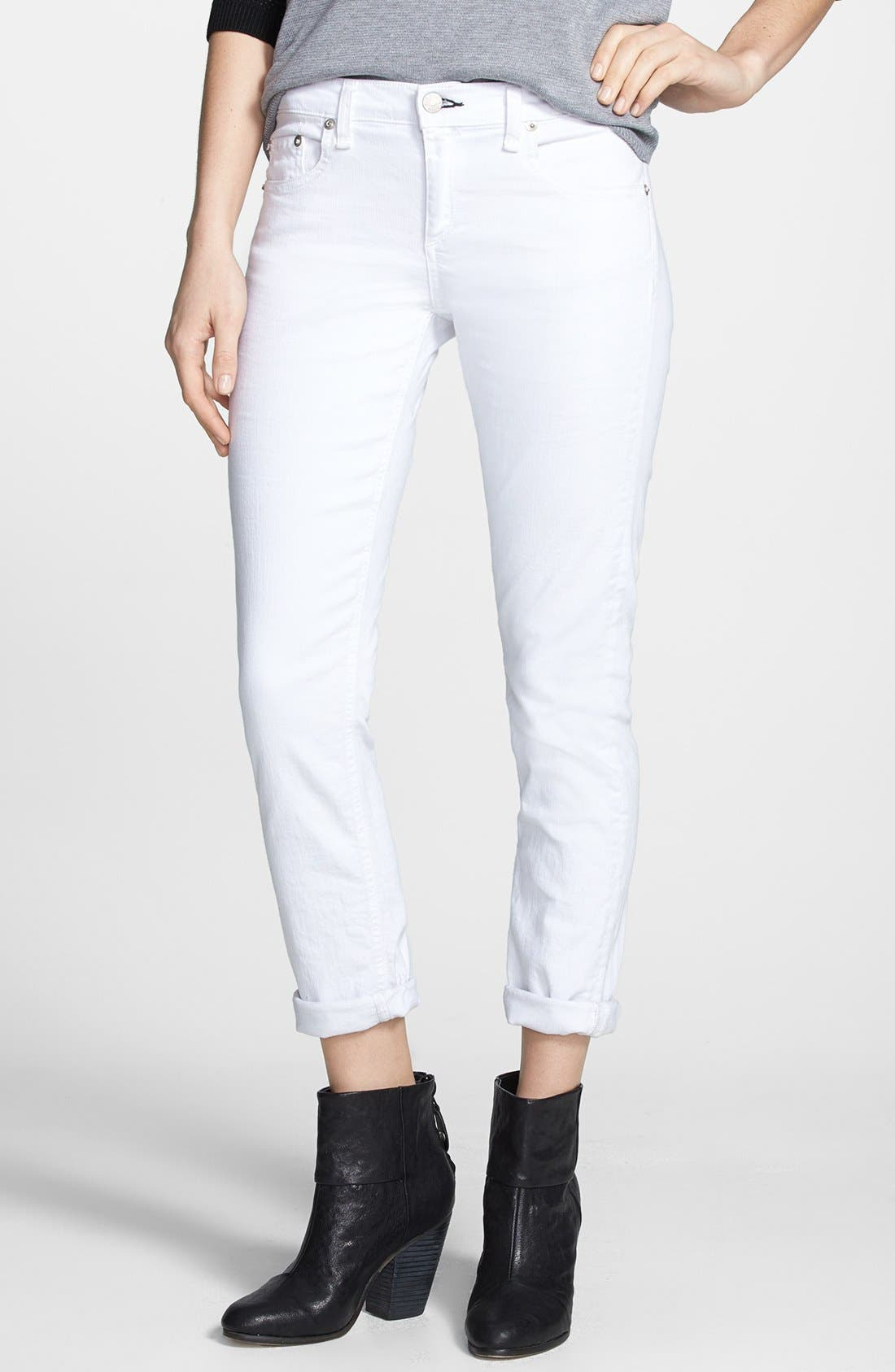 'The Dre' Skinny Jeans,                         Main,                         color, BRIGHT WHITE