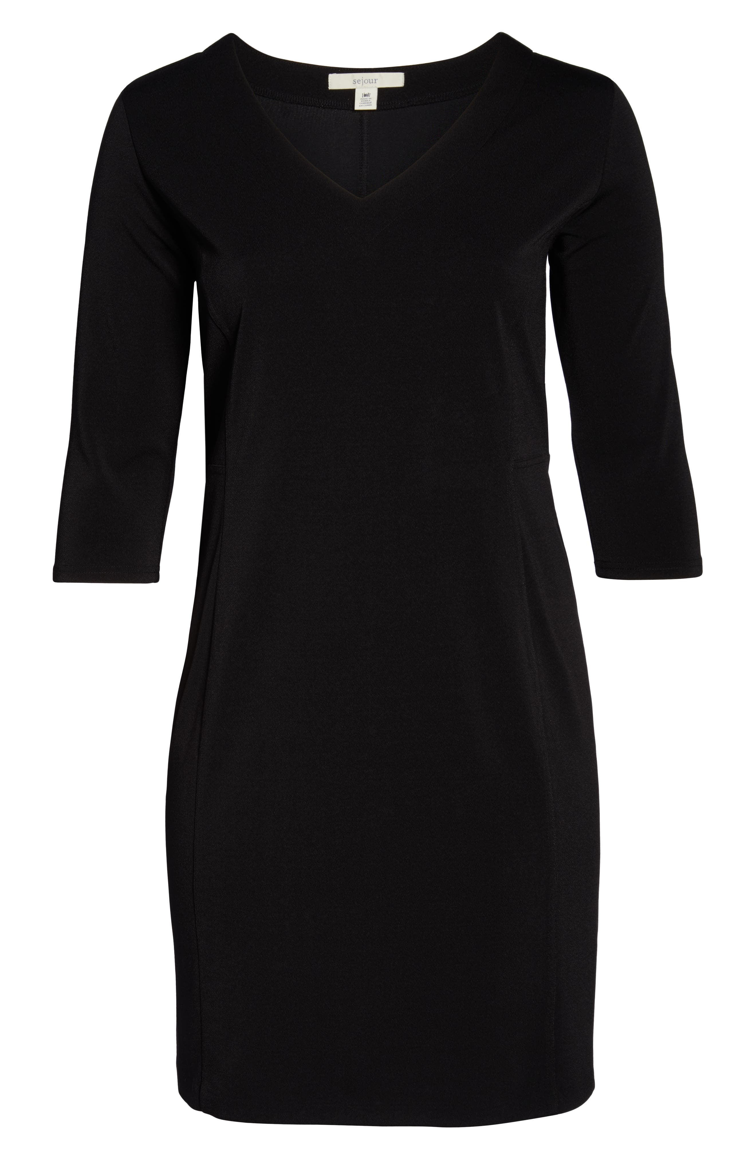 Seamed Crepe Dress,                             Alternate thumbnail 7, color,                             BLACK