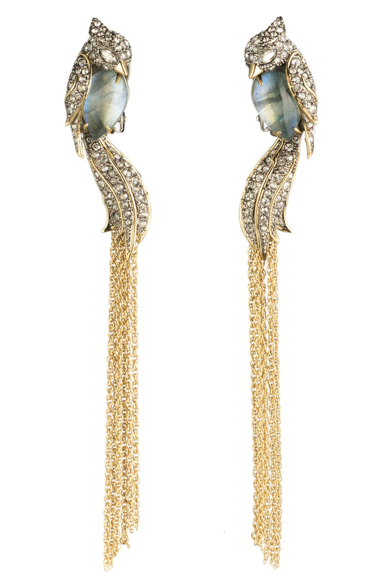 Crystal Encrusted Lovebird Tassel Clip Earrings,                         Main,                         color,