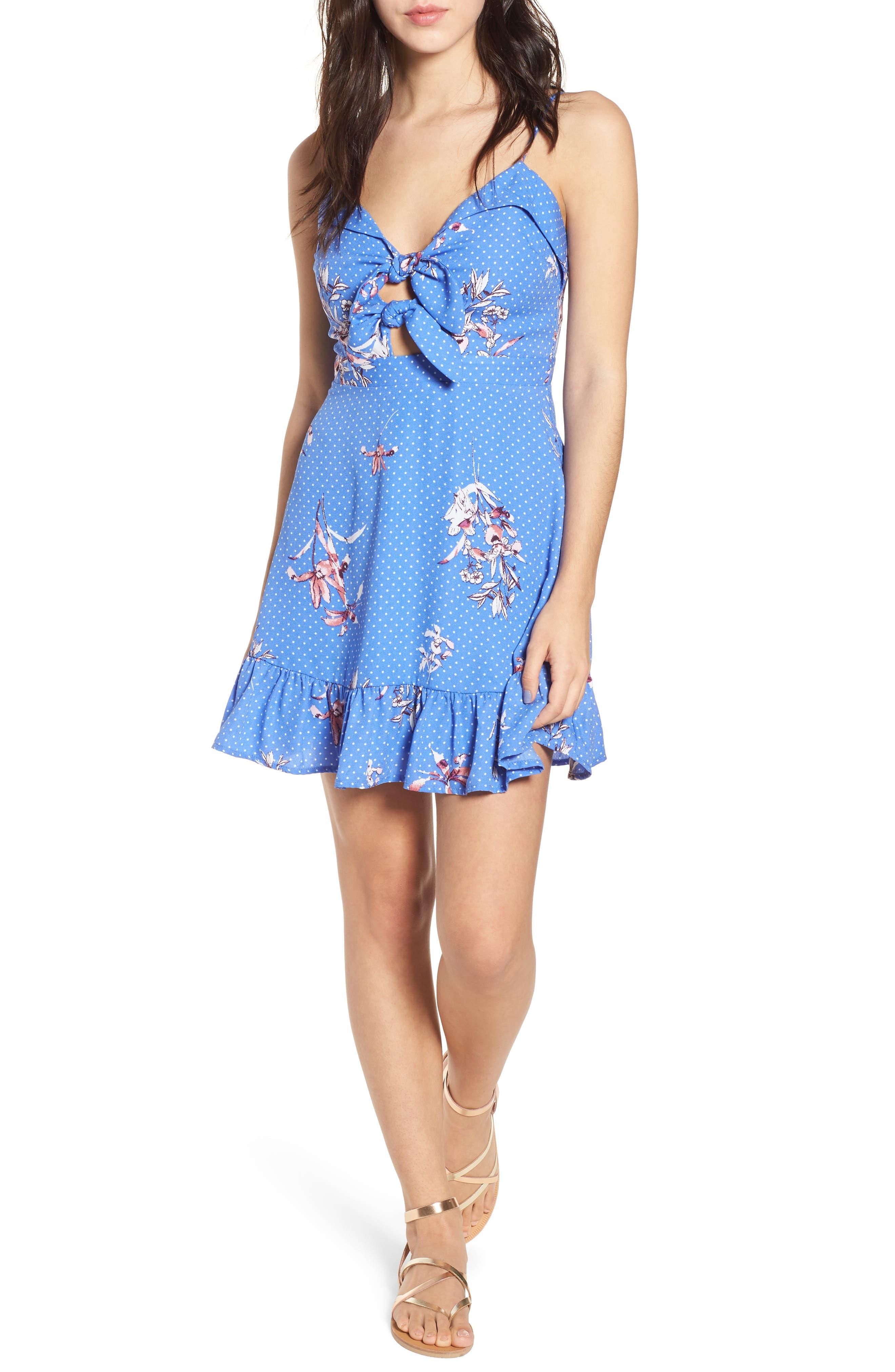 Vanessa Tie Front Minidress,                         Main,                         color,