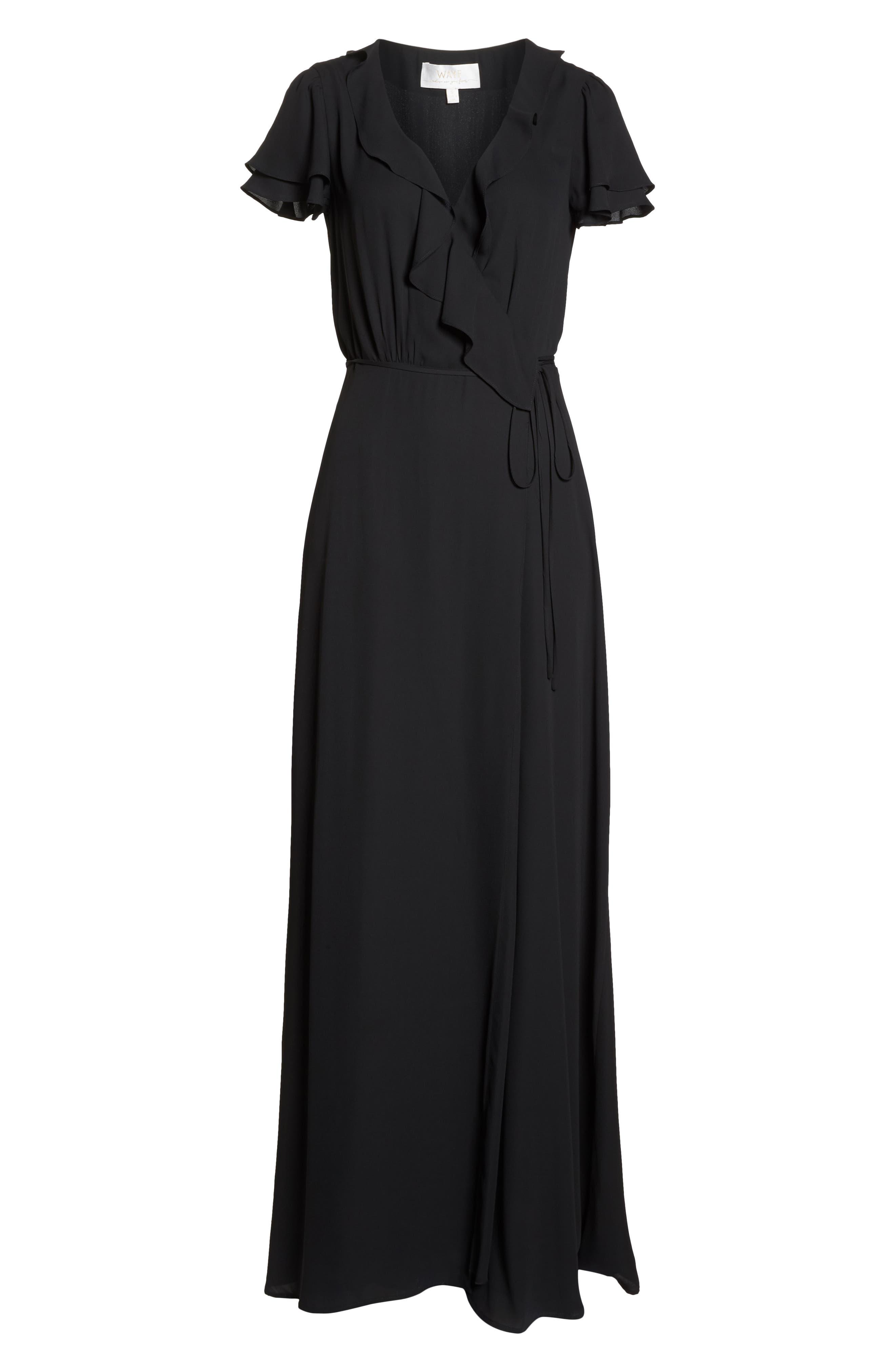 WAYF,                             The Evaline Flutter Ruffle Wrap Gown,                             Alternate thumbnail 7, color,                             BLACK