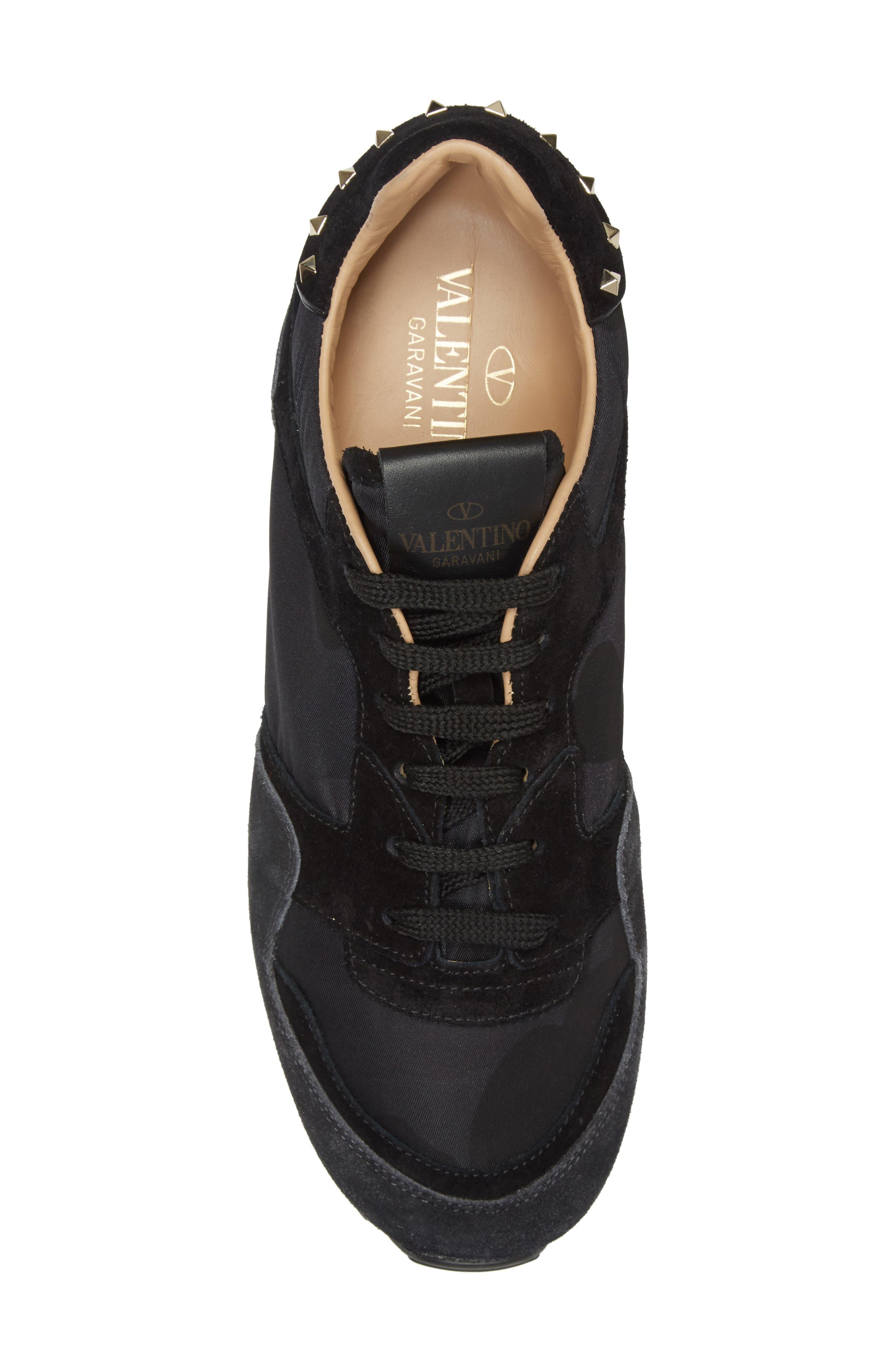Rockstud Sneaker,                             Alternate thumbnail 5, color,                             BLACK/ GREY