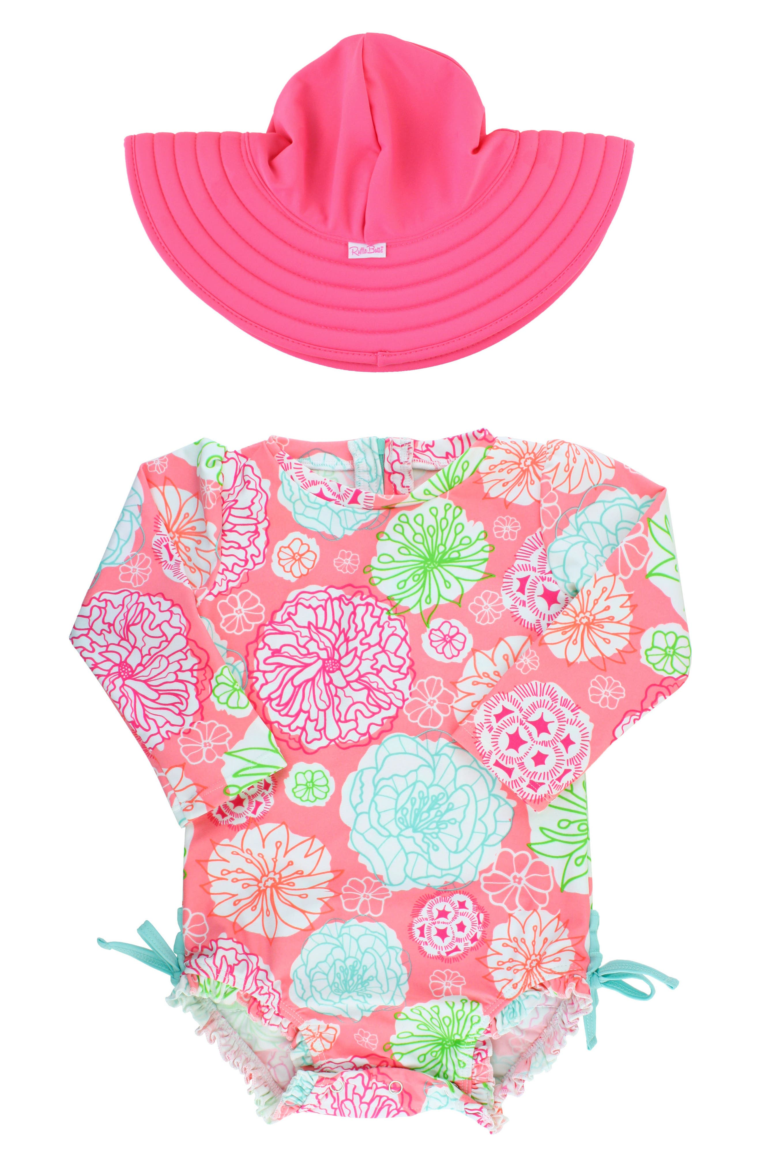 Tropical Garden One-Piece Rashguard Swimsuit & Reversible Sun Hat Set,                             Main thumbnail 1, color,                             PINK