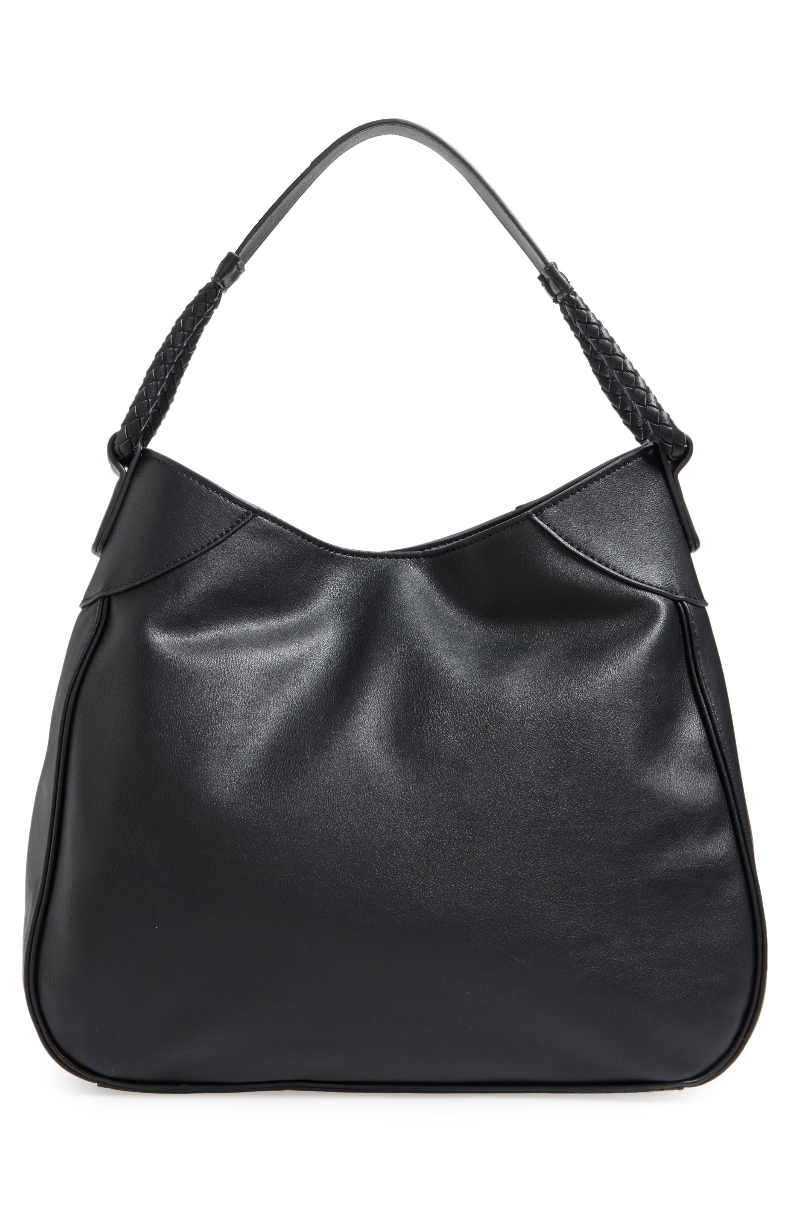 Rema Faux Leather Shoulder Bag,                             Alternate thumbnail 3, color,                             001