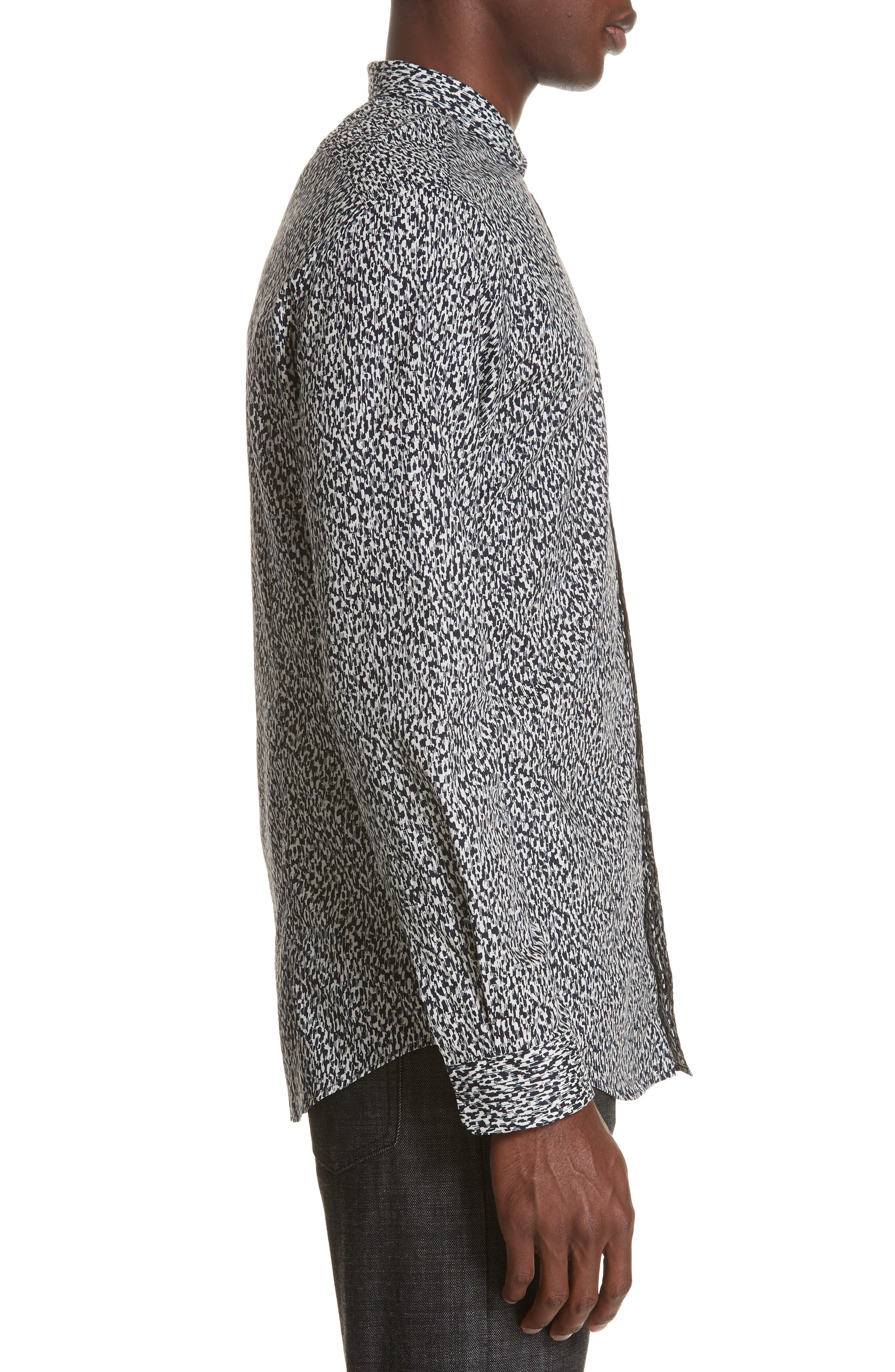 Slim Fit Print Sport Shirt,                             Alternate thumbnail 3, color,                             BLACK/WHITE