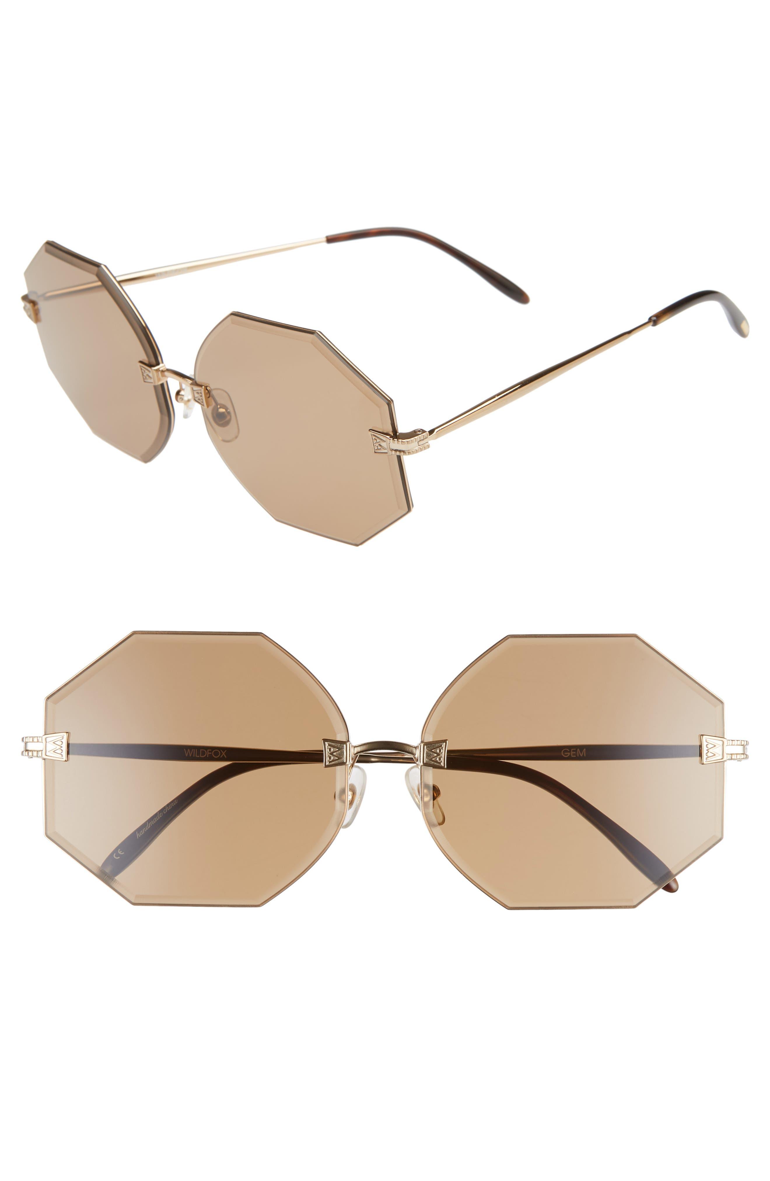 Gem 64mm Oversize Geometric Sunglasses,                         Main,                         color, ANTIQUE GOLD/ BROWN SOLID