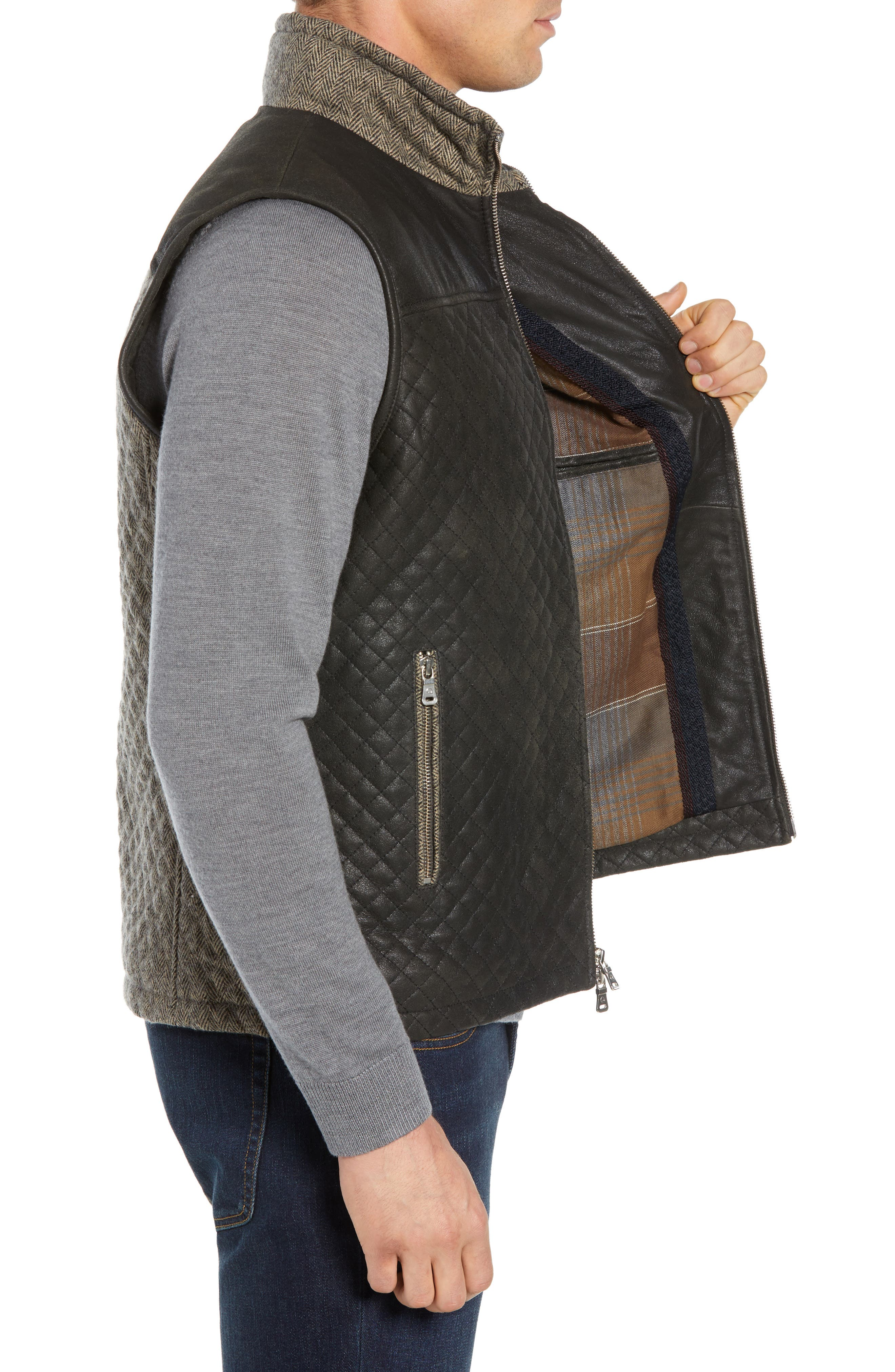 Quilted Leather & Wool Vest,                             Alternate thumbnail 3, color,                             001