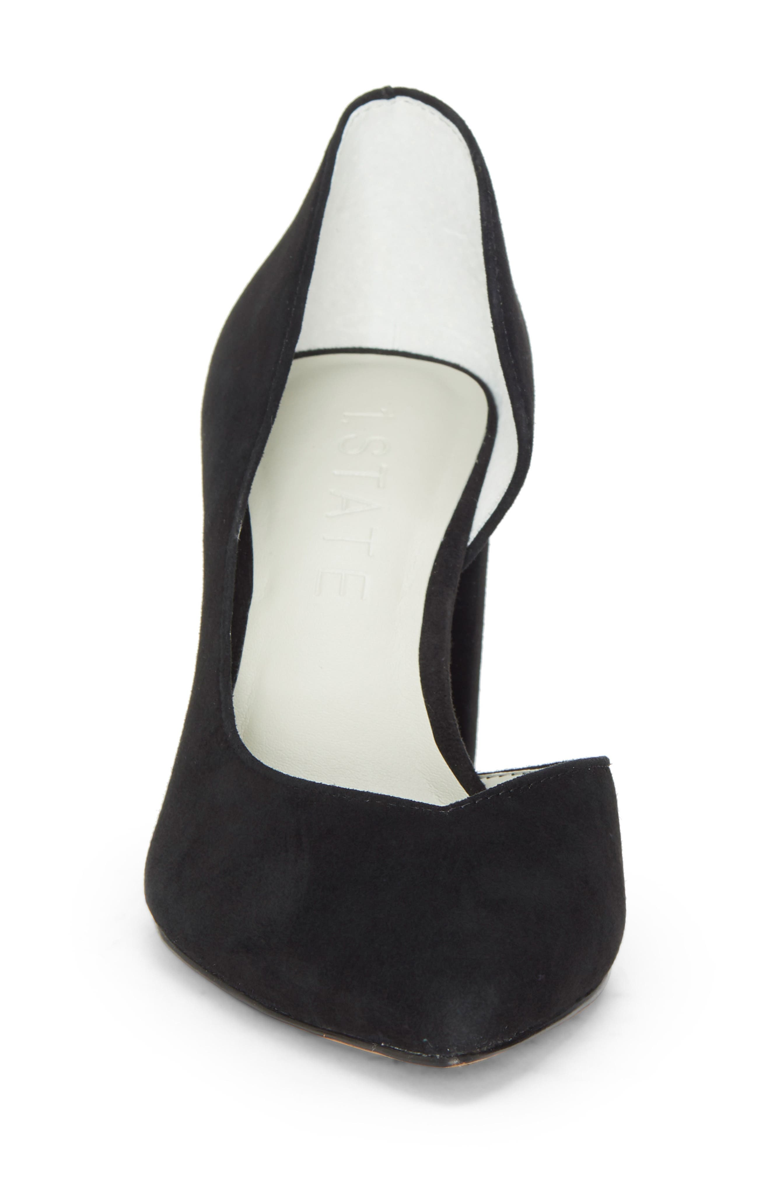 Sisteen Half d'Orsay Pump,                             Alternate thumbnail 4, color,                             BLACK SUEDE