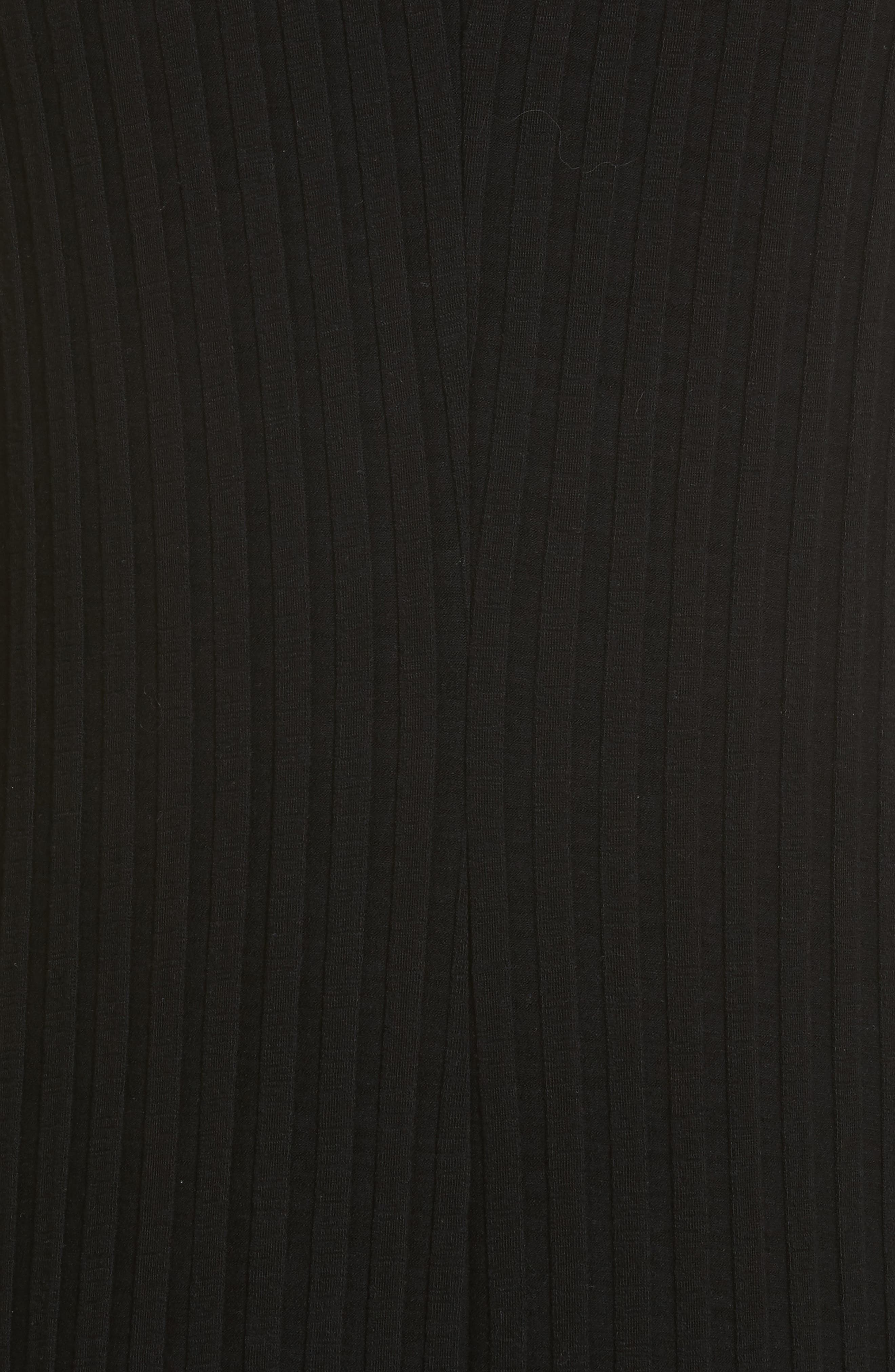 Tali Stretch Ribbed Body-Con Dress,                             Alternate thumbnail 6, color,                             BLACK