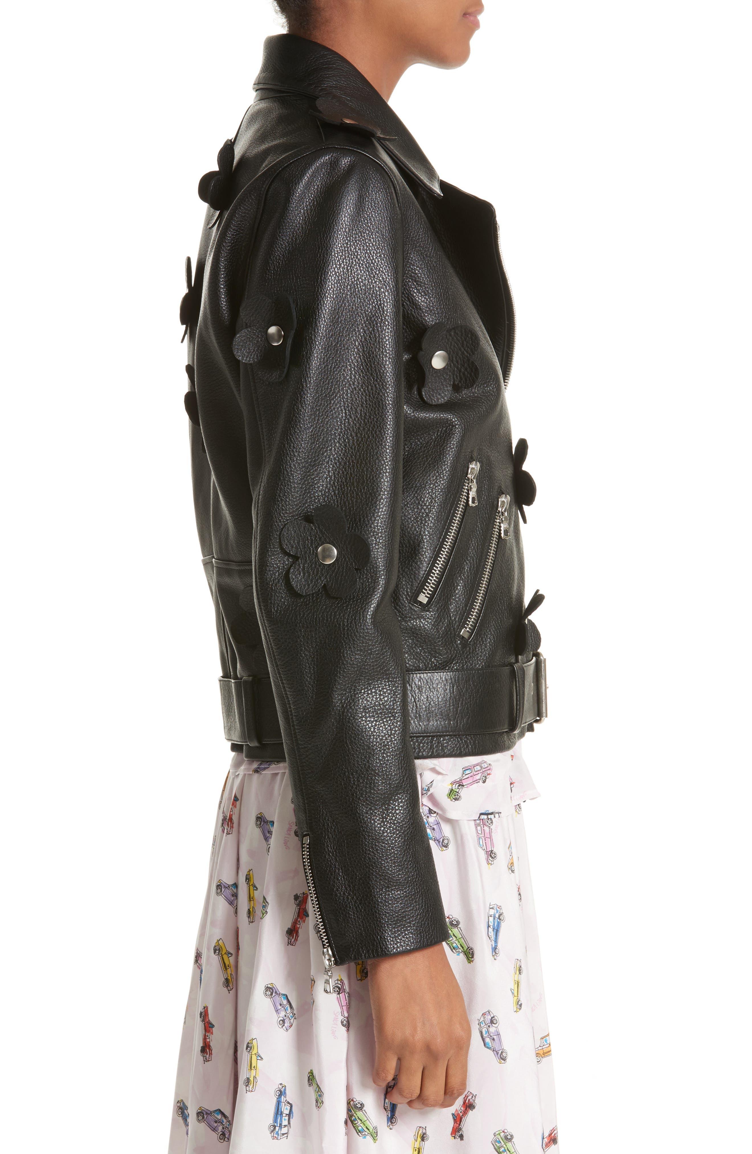 Petals Delancey Leather Moto Jacket,                             Alternate thumbnail 3, color,