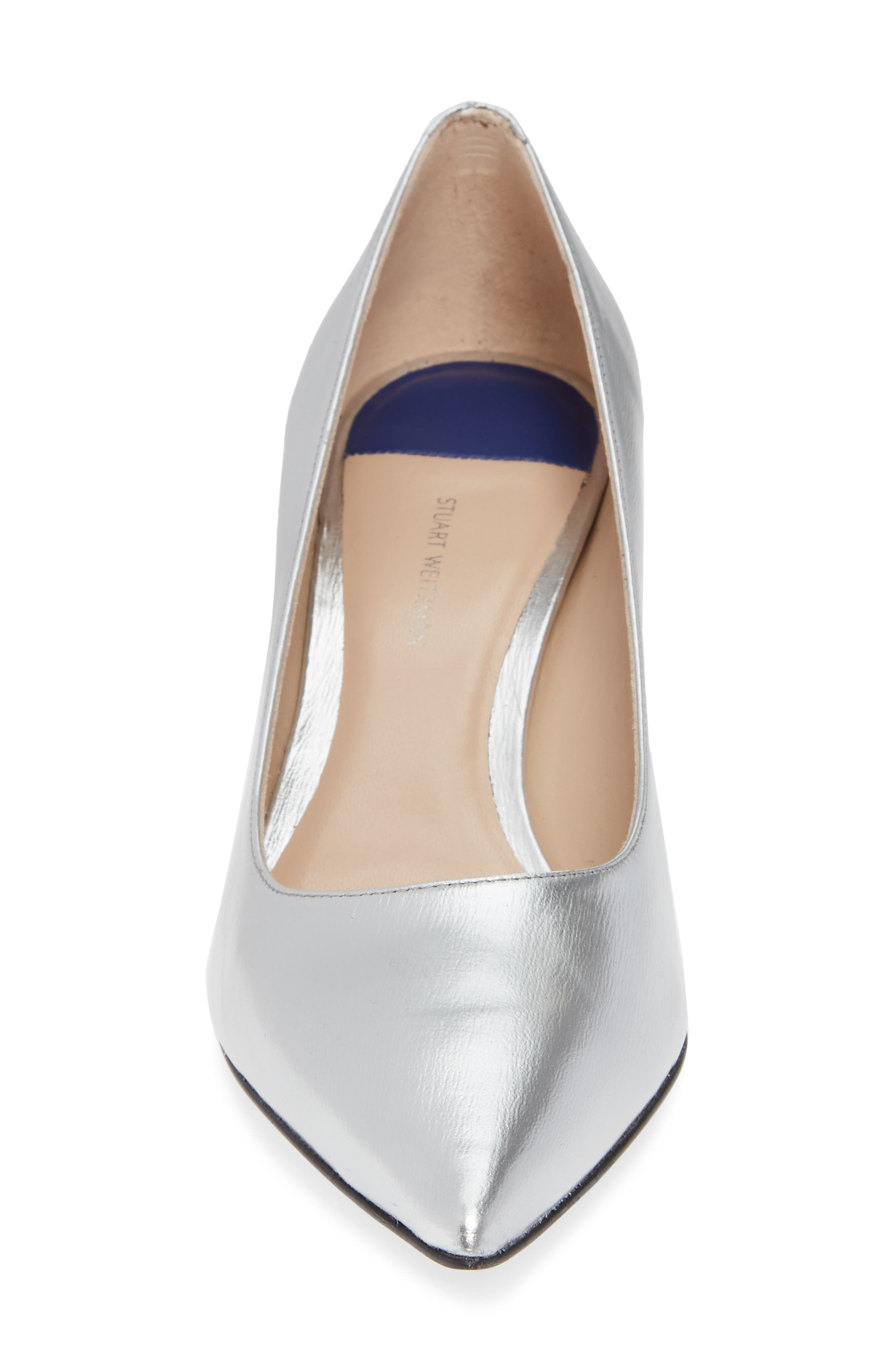 Tippi 70 Pointy Toe Pump,                             Alternate thumbnail 4, color,                             SILVER VENICE