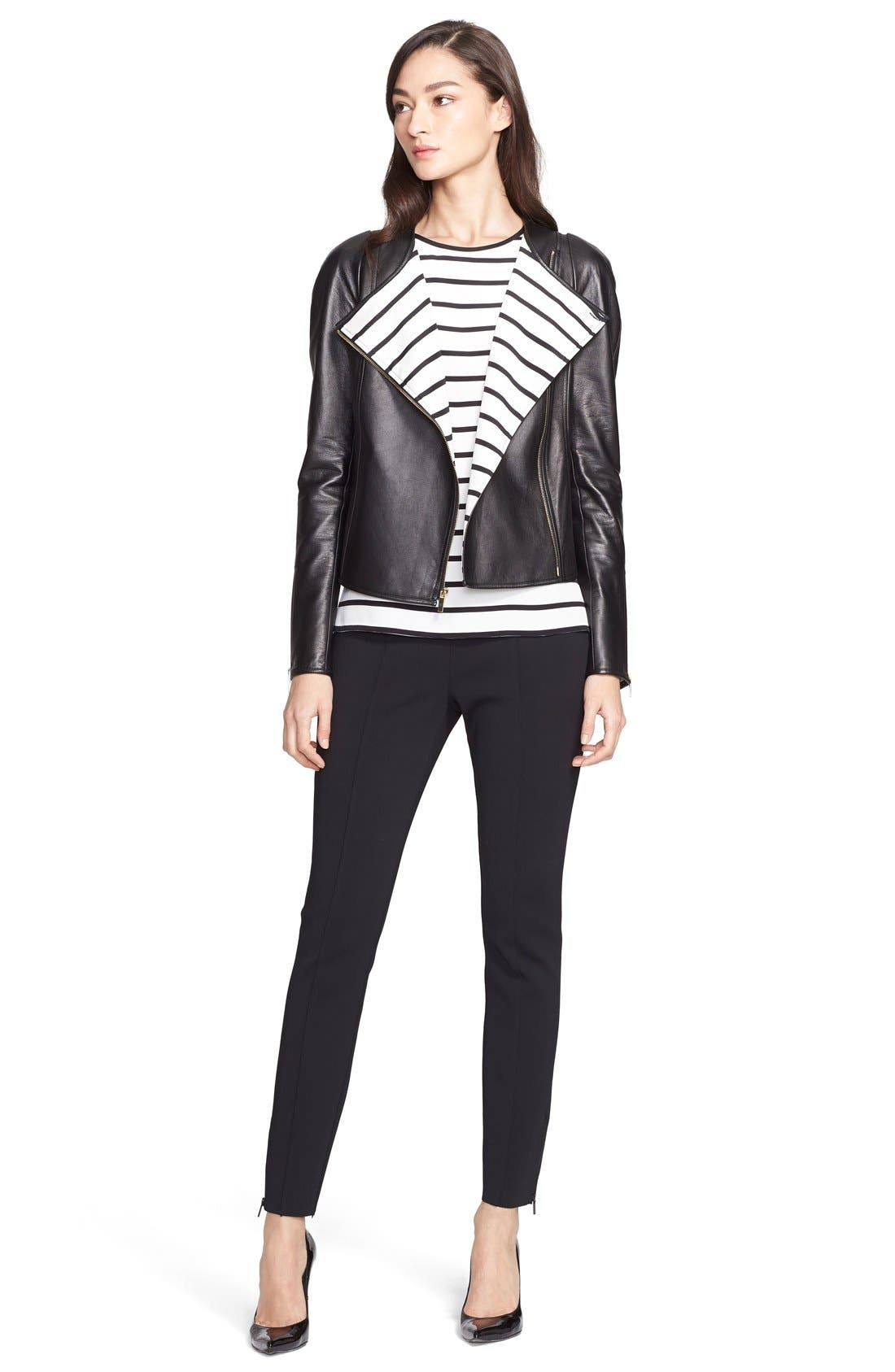 ST. JOHN COLLECTION,                             Nappa Leather Jacket with Stripe Lining,                             Alternate thumbnail 3, color,                             001