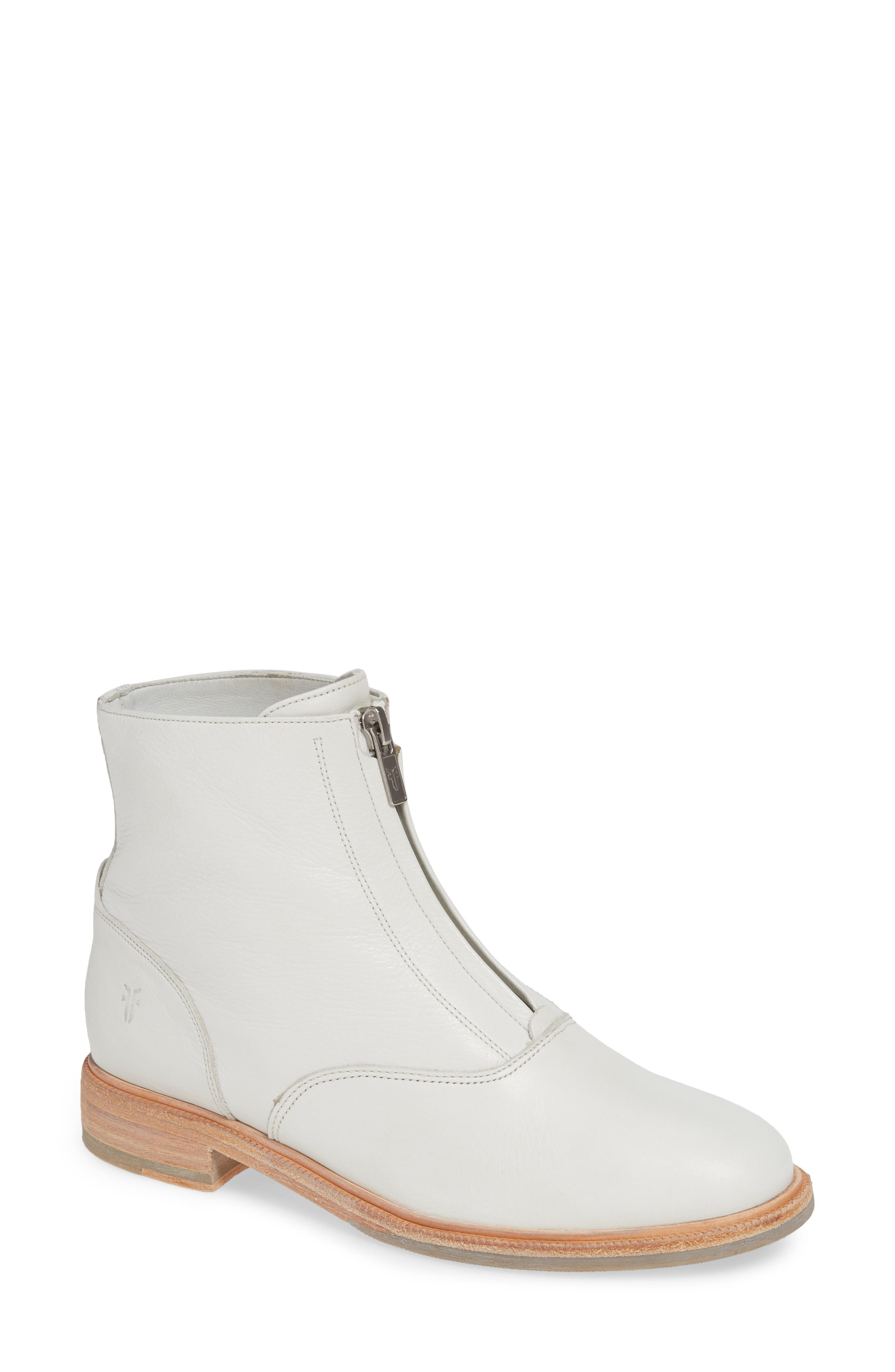 Frye Kelly Zip Bootie- White