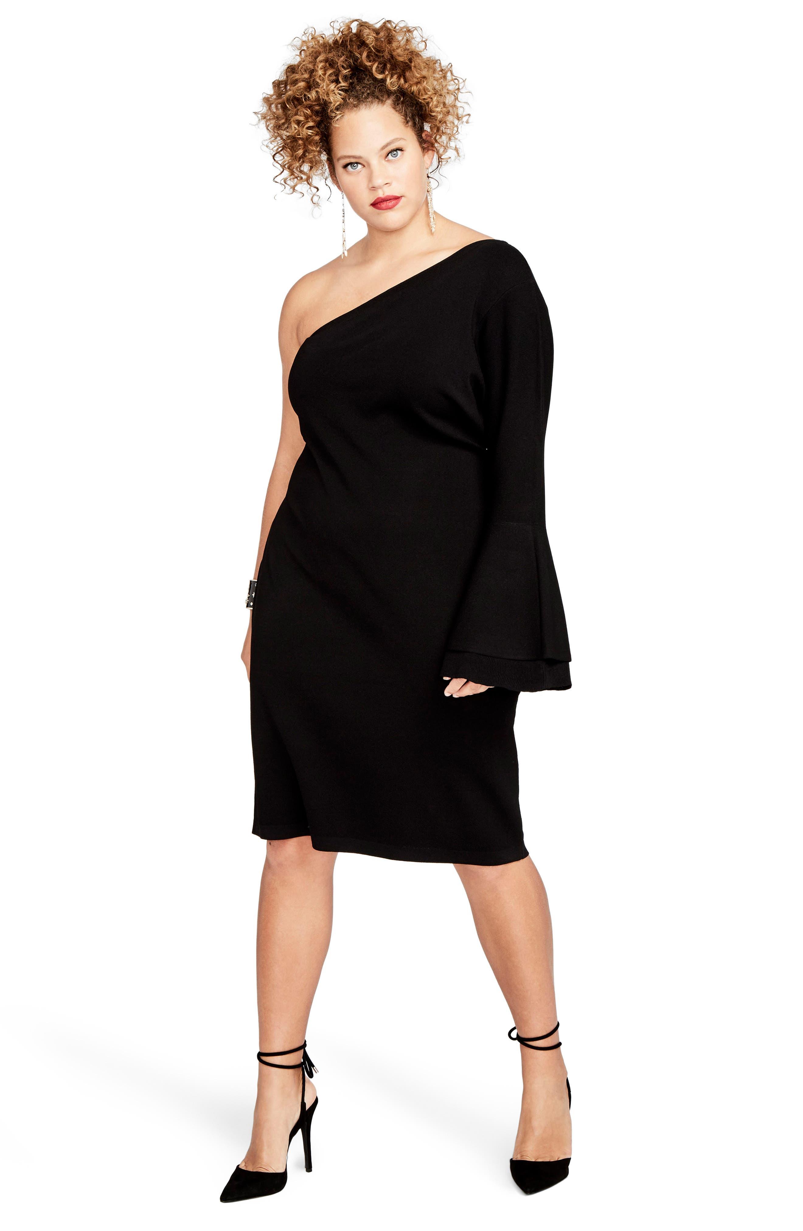 One-Shoulder Knit Sheath Dress,                             Alternate thumbnail 7, color,