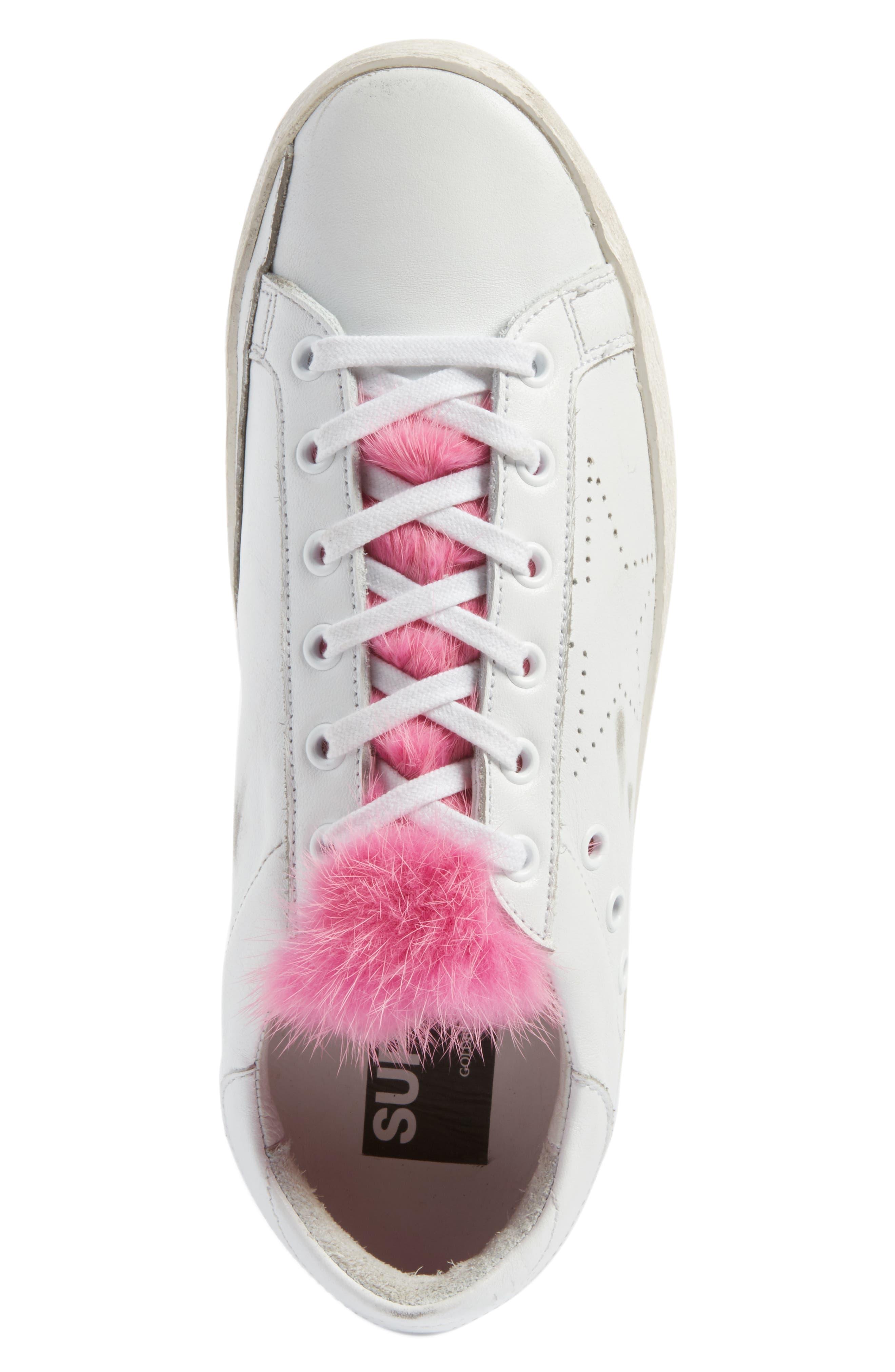 Superstar Genuine Mink Fur Sneaker,                             Alternate thumbnail 5, color,                             100